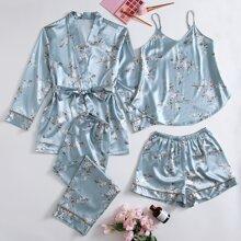 4pcs Floral Print Cami PJ Set