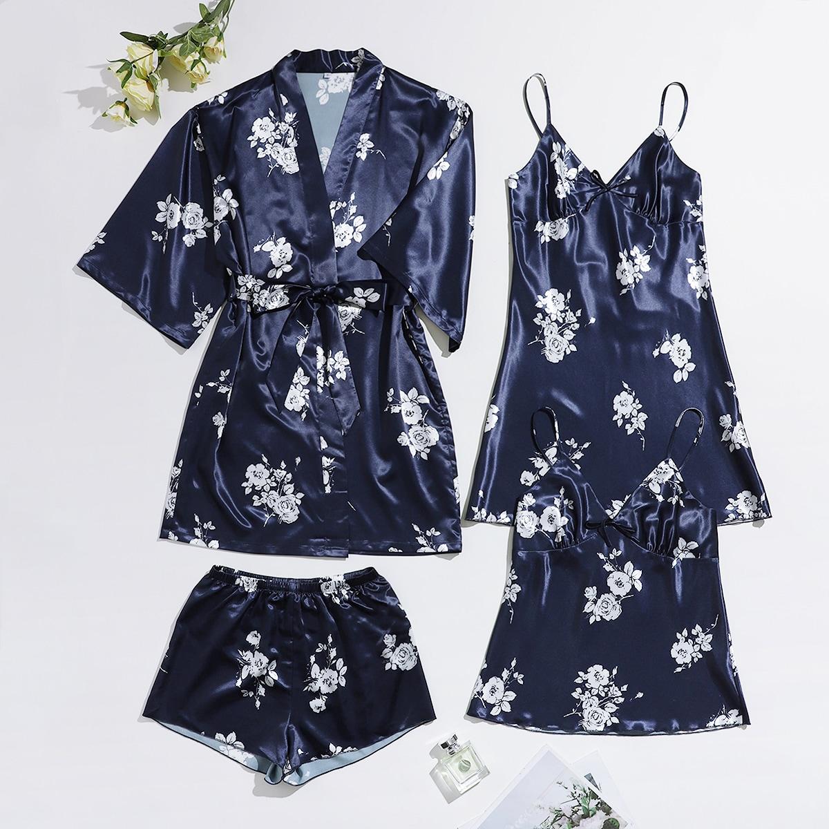 с поясом Цветочный принт Элегантный Комплект пижамы