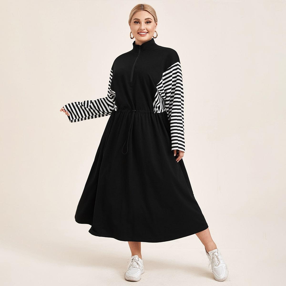 Платье размера плюс с карманом в полоску
