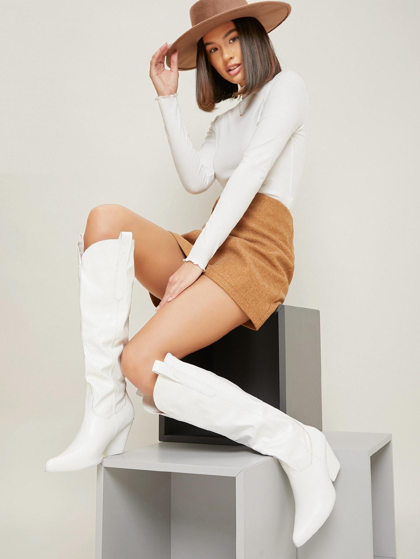 Vegan Leather Over-The-Knee Block Heel Boots