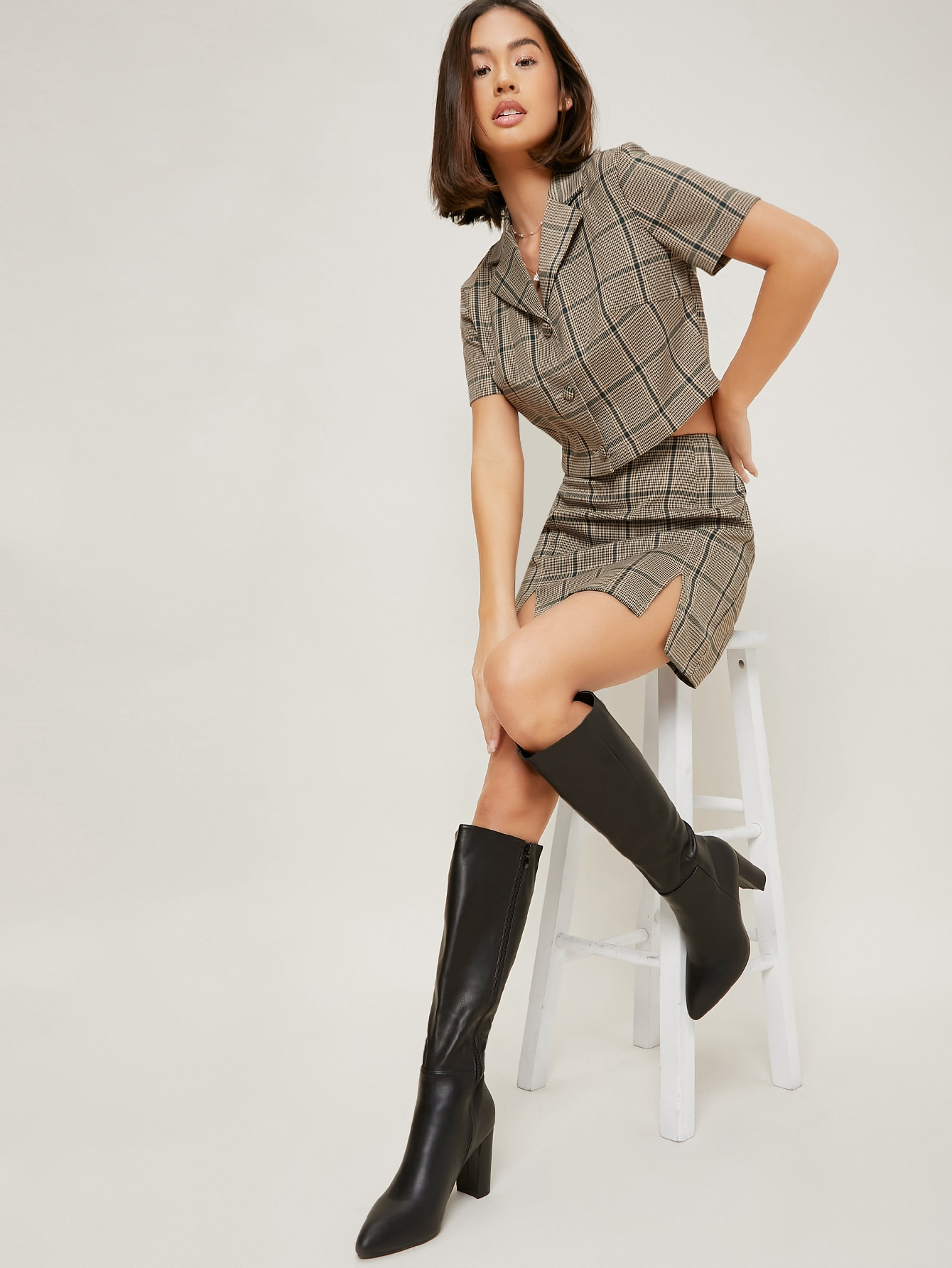 Faux Leather Knee-High Block Heel Boots
