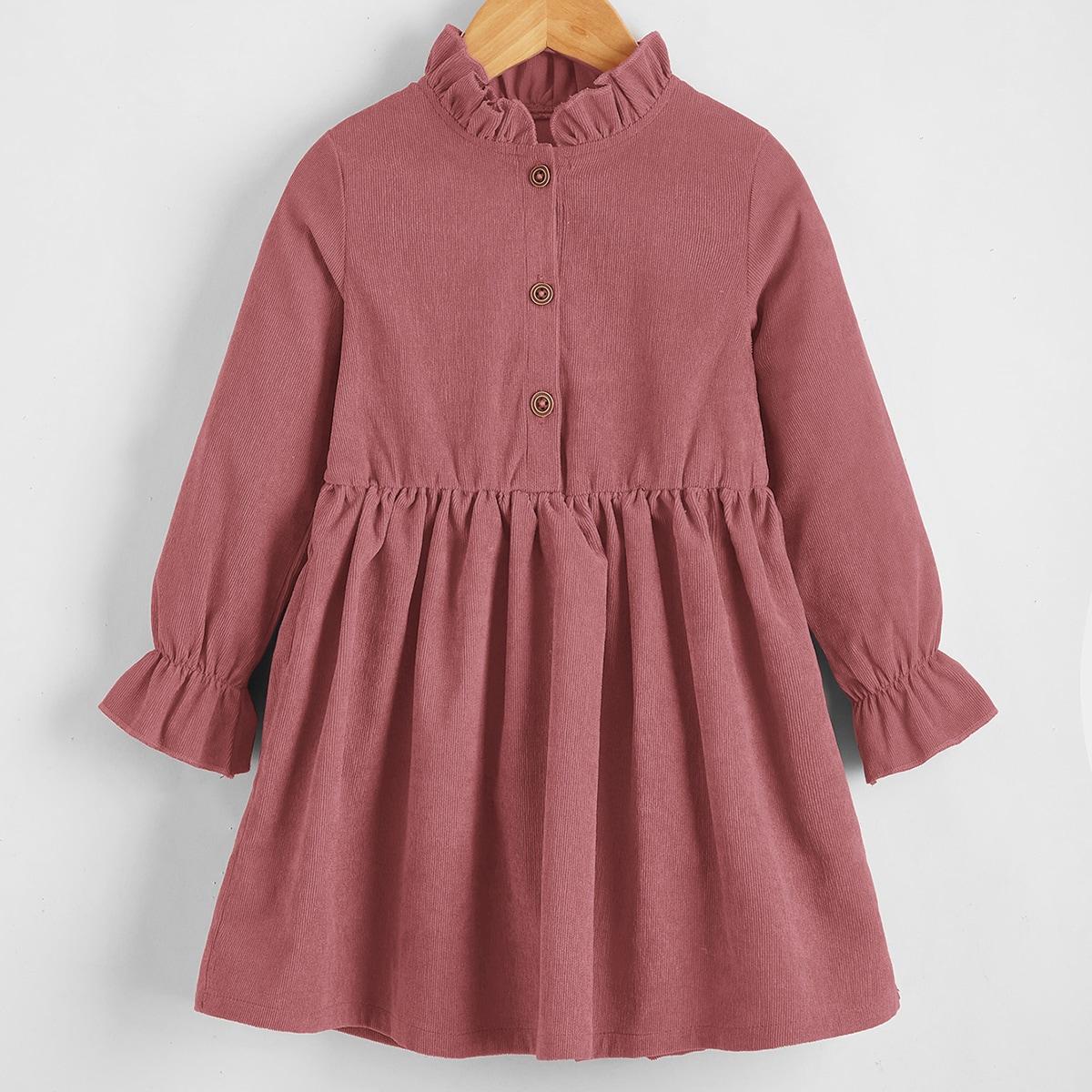 Toddler Girls Ruffle Neck Half Button Corduroy Dress