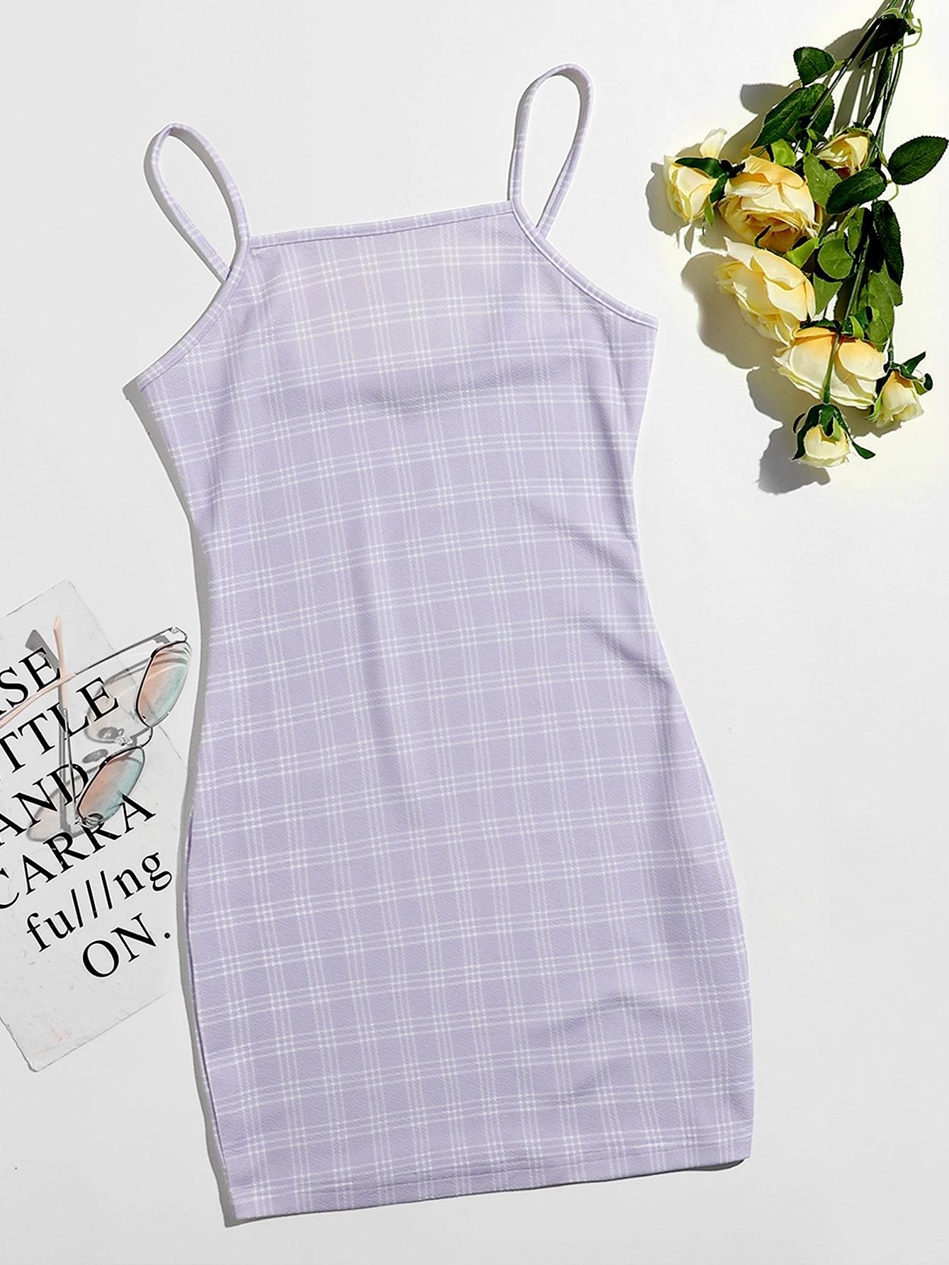 plaid cami mini bodycon dress