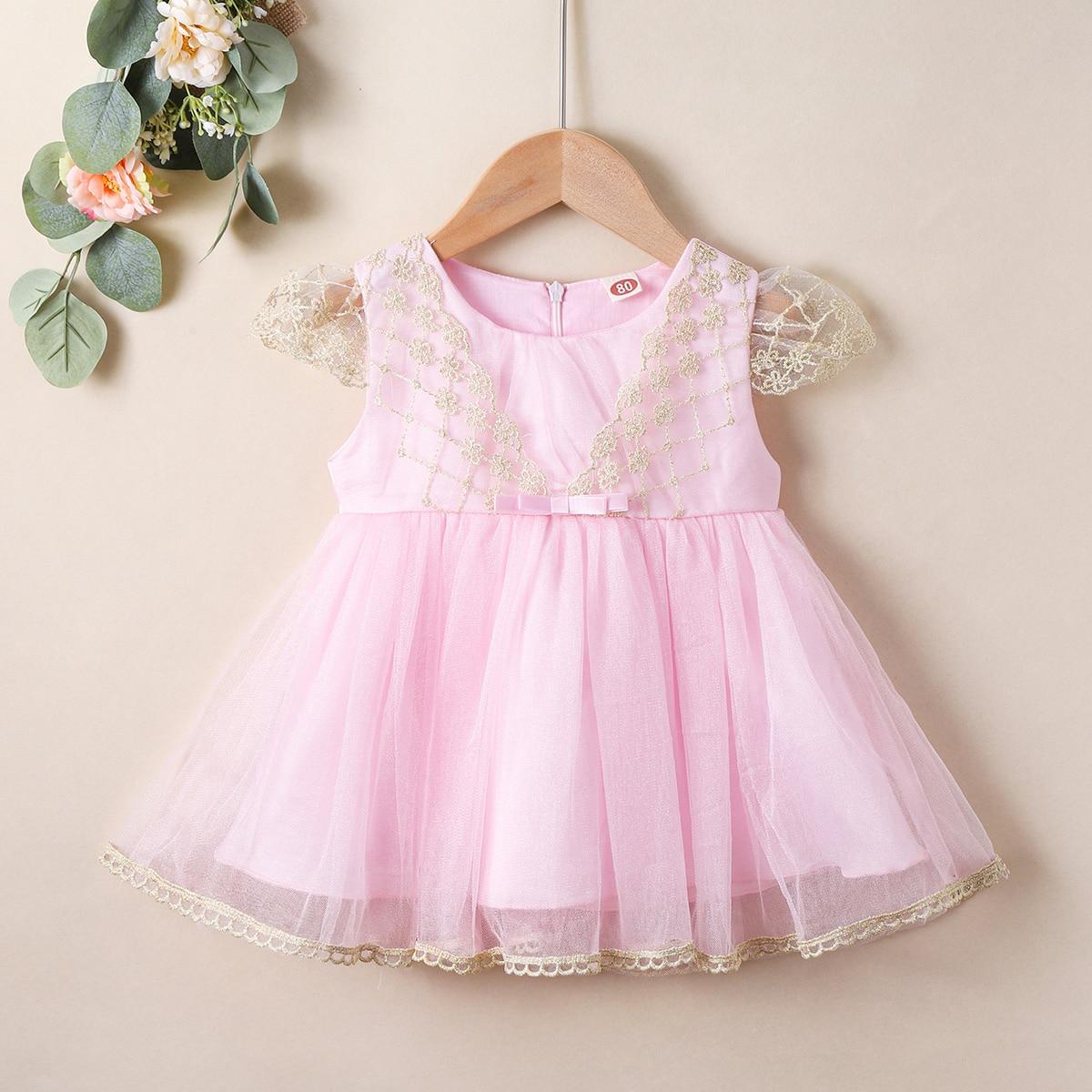 С бантом очаровательный нарядное платье для маленьких девочек