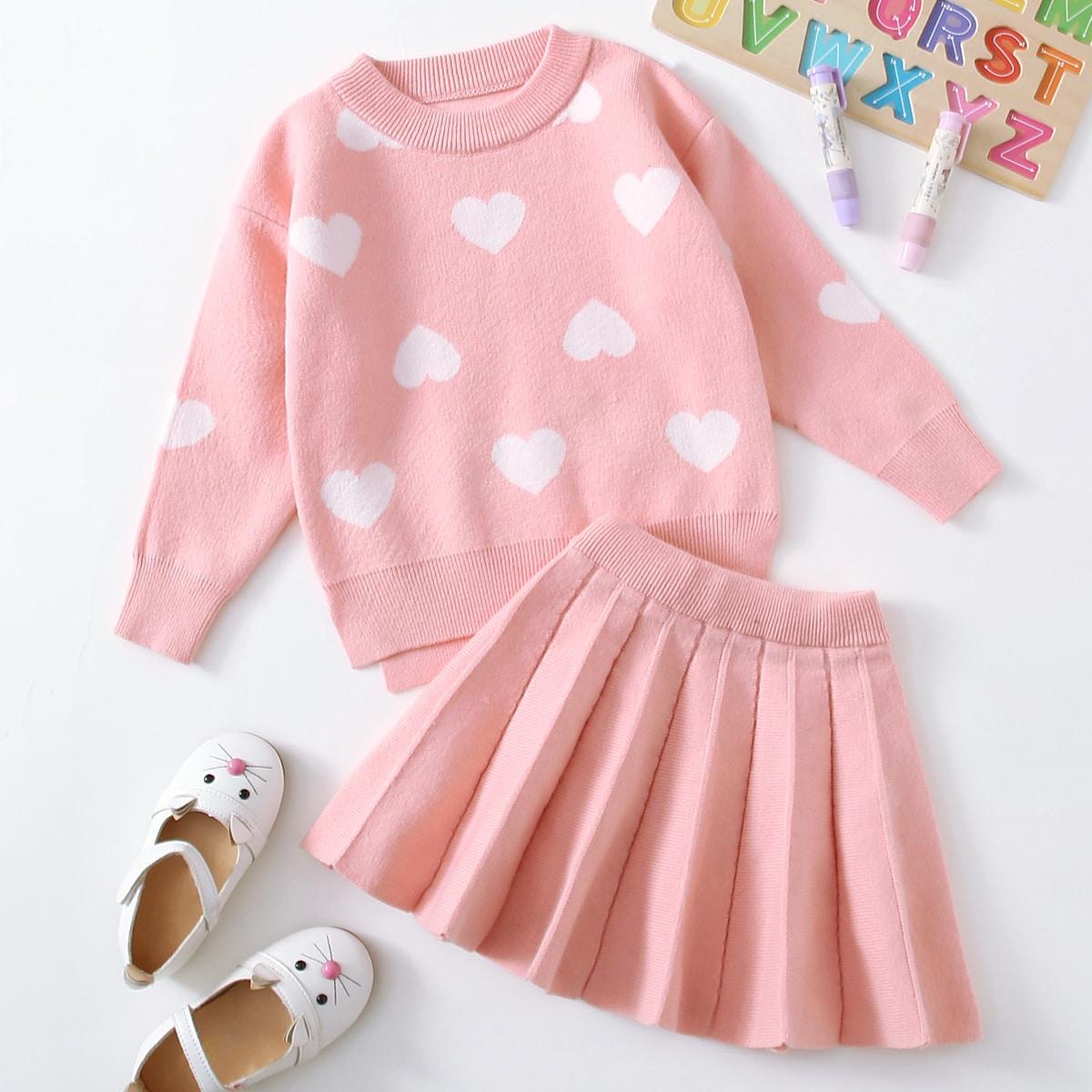 Свитер с принтом сердечка и плиссированная вязаная юбка для девочек