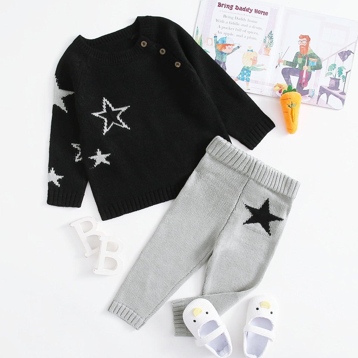 Свитер с принтом звезды и вязаные брюки для девочек