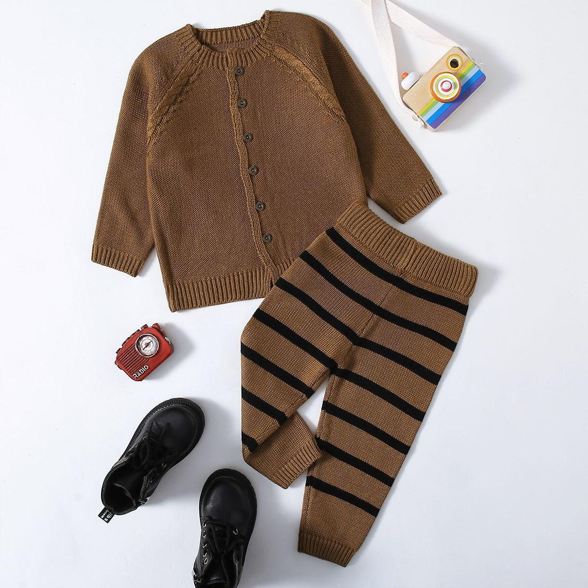 Вязаные брюки в полоску и кардиган для девочек