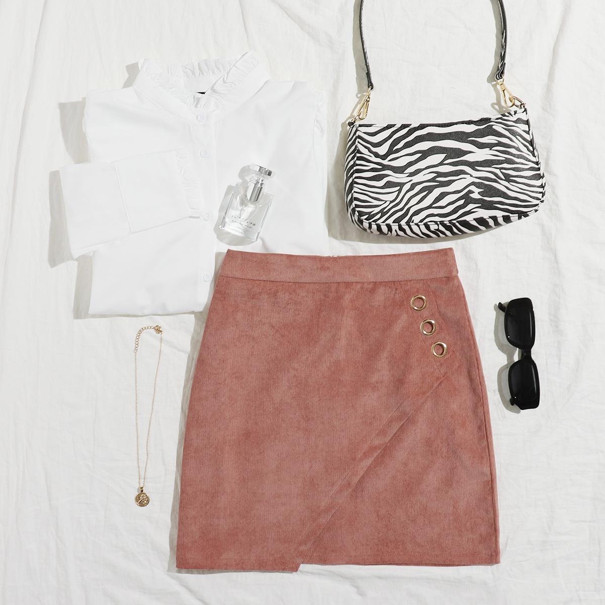 Вельветовая асимметричная юбка