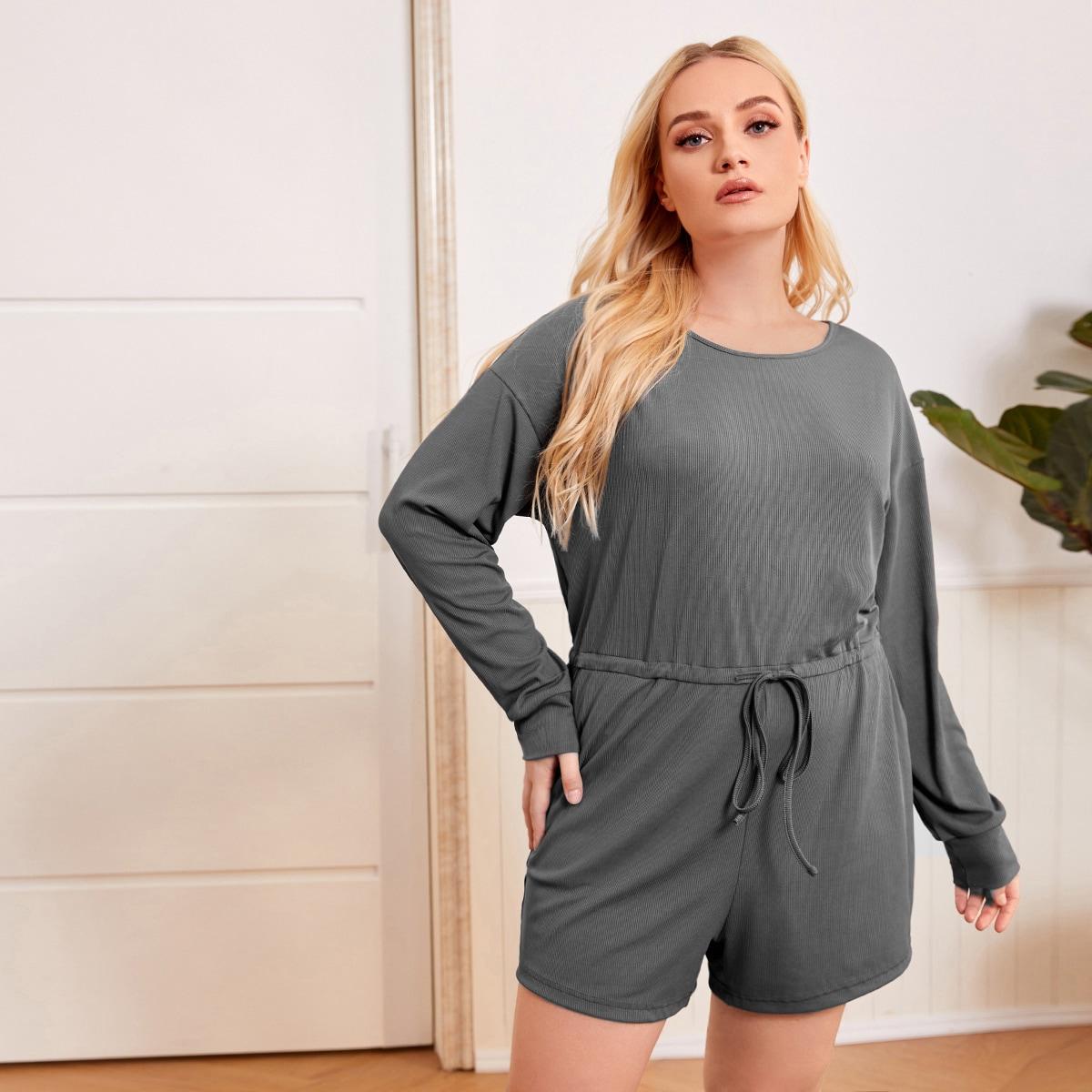 С разрезом одноцветный повседневный пижамный комбинезон размера плюс