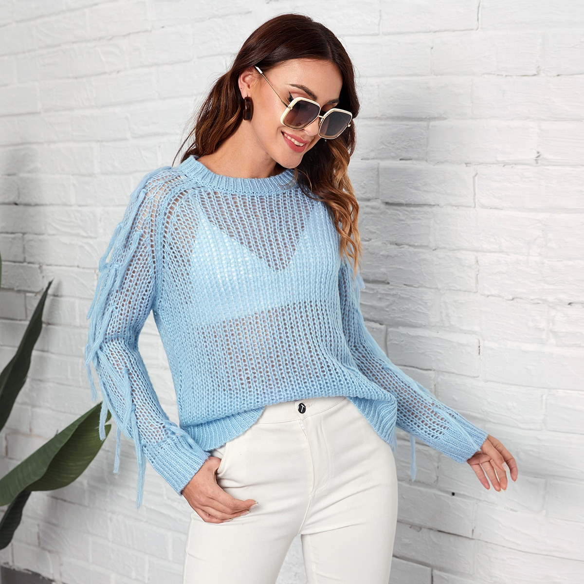 Fringe Detail Open Knit Sweater Without Bra