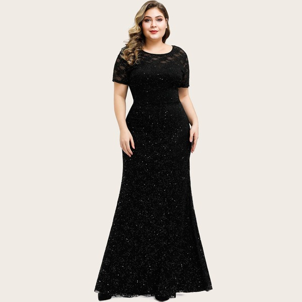 Plus Sheer Yoke Sequin Prom Dress, Black