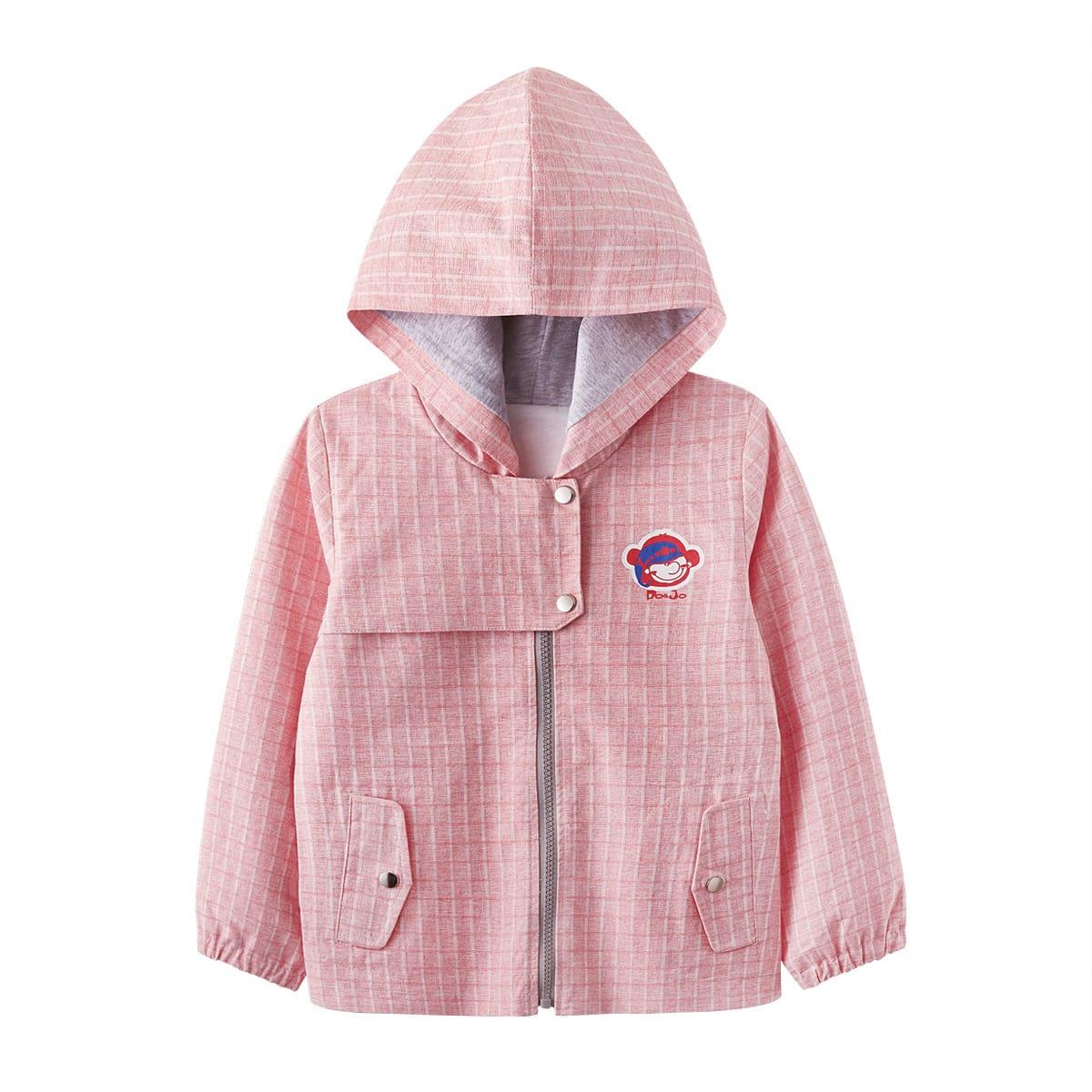 Пальто в клетку с капюшоном и мультипликационным узором для девочек