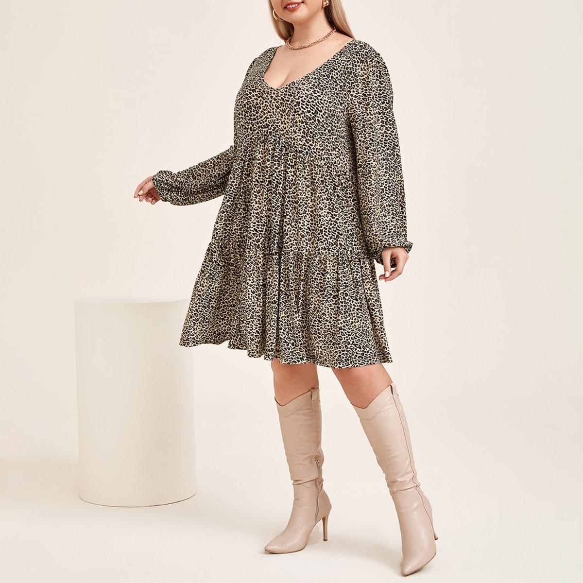 Платье размера плюс с леопардовым принтом и рукавами фонариками