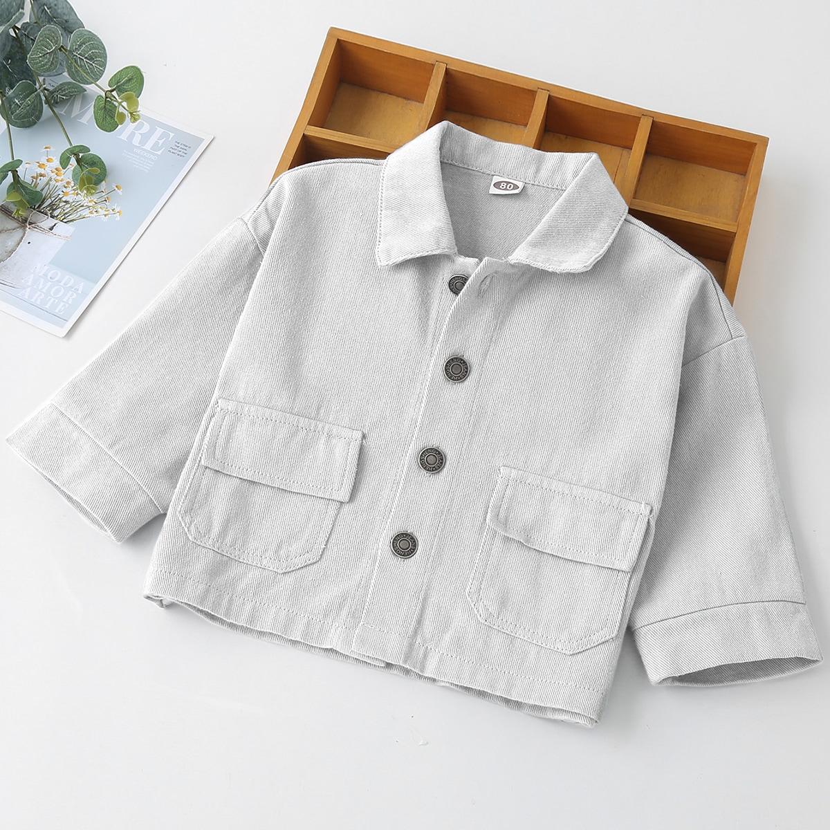 Повседневная джинсовая куртка для мальчика с карманами