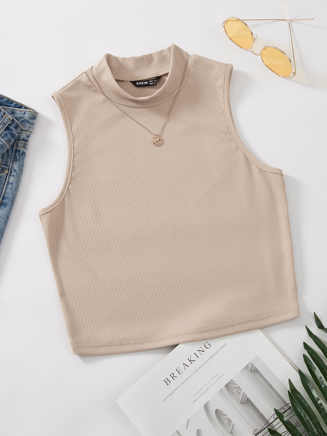 Mock Neck Rib-knit Tank Top Without Necklace thumbnail