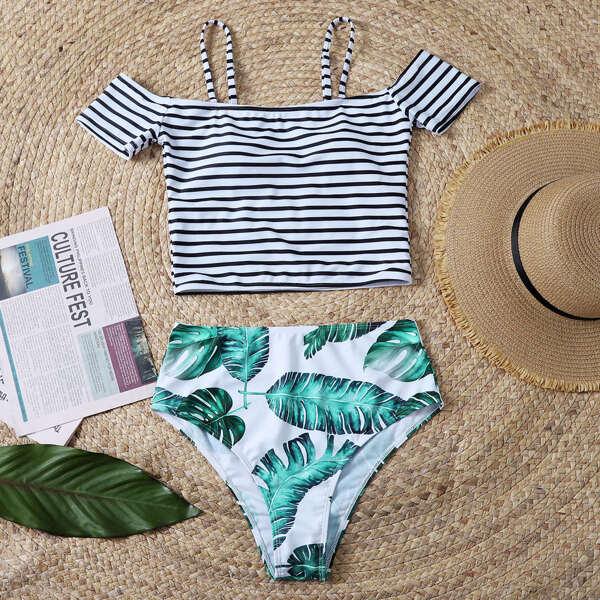 Tropical & Striped Print Mix & Match Bikini Swimsuit, Multicolor