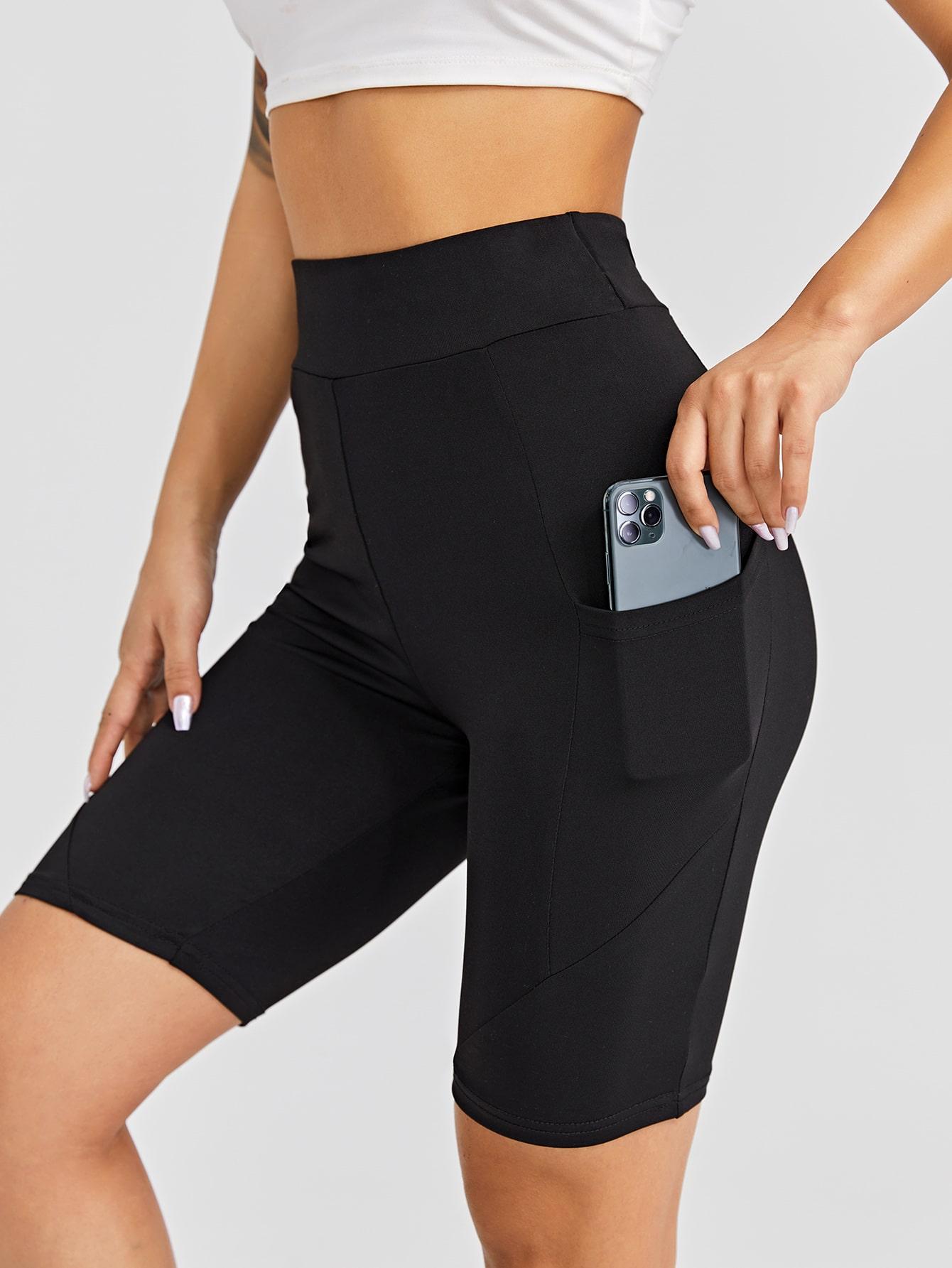 Solid Biker Shorts & Phone Pocket thumbnail