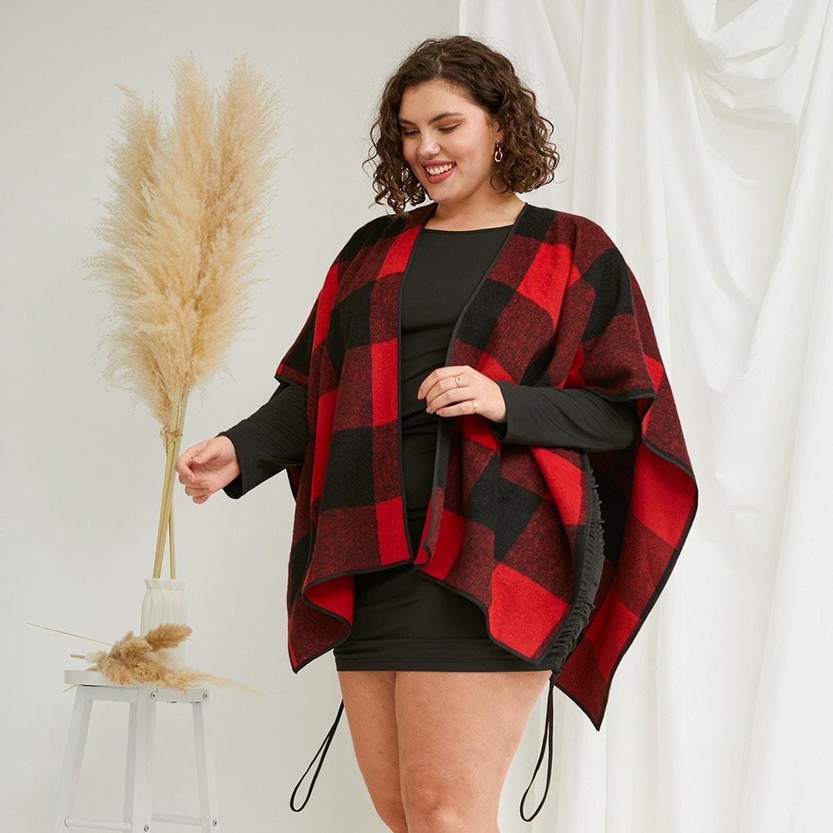 Контрастная отделка кимоно размер плюс