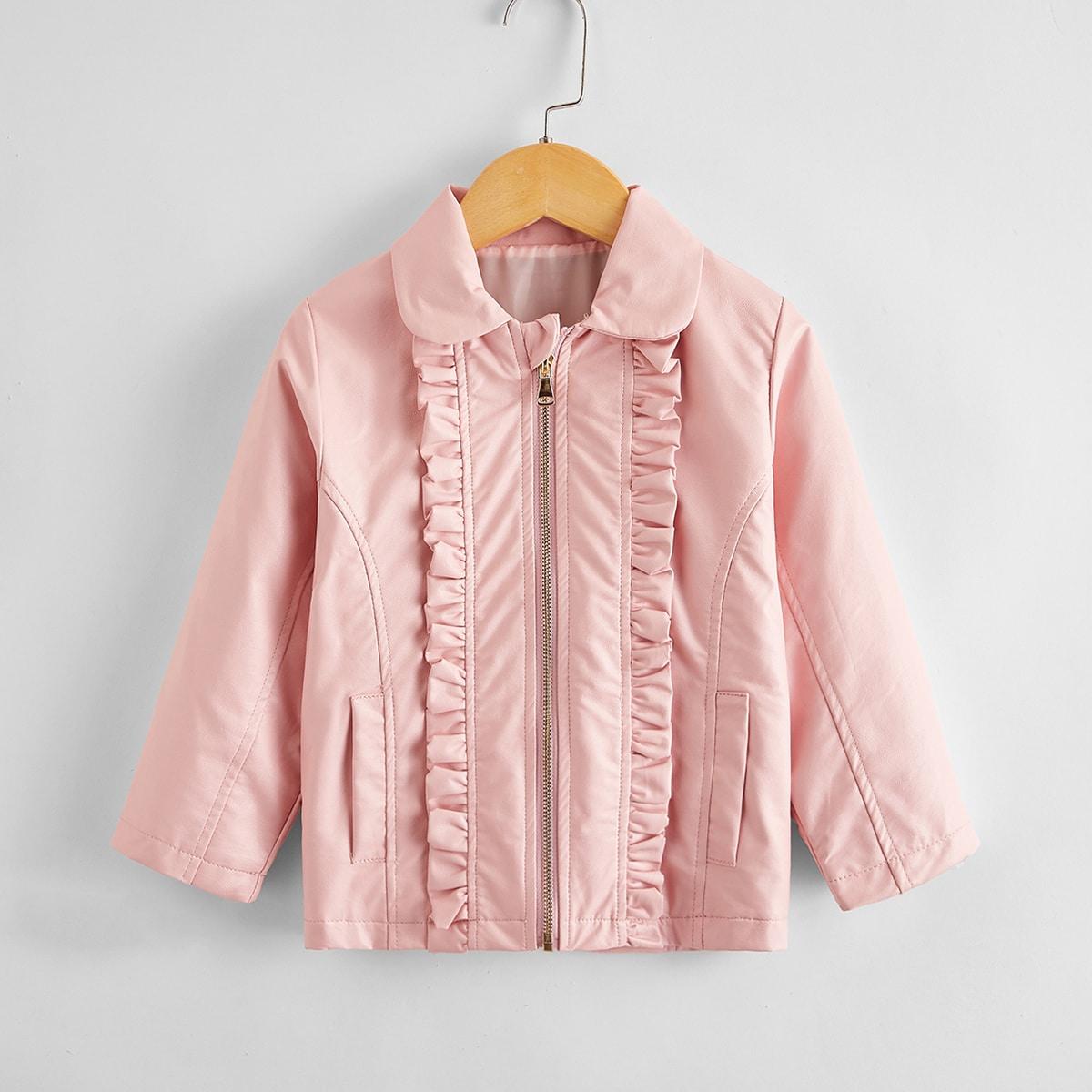 На молнии одноцветный повседневный пальто для маленьких девочек