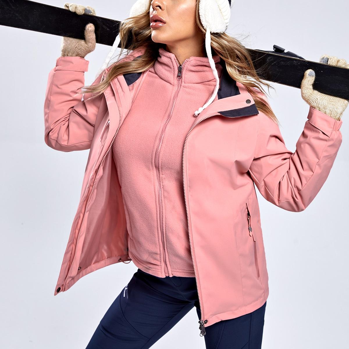 Куртка с капюшоном на флисовой подкладке