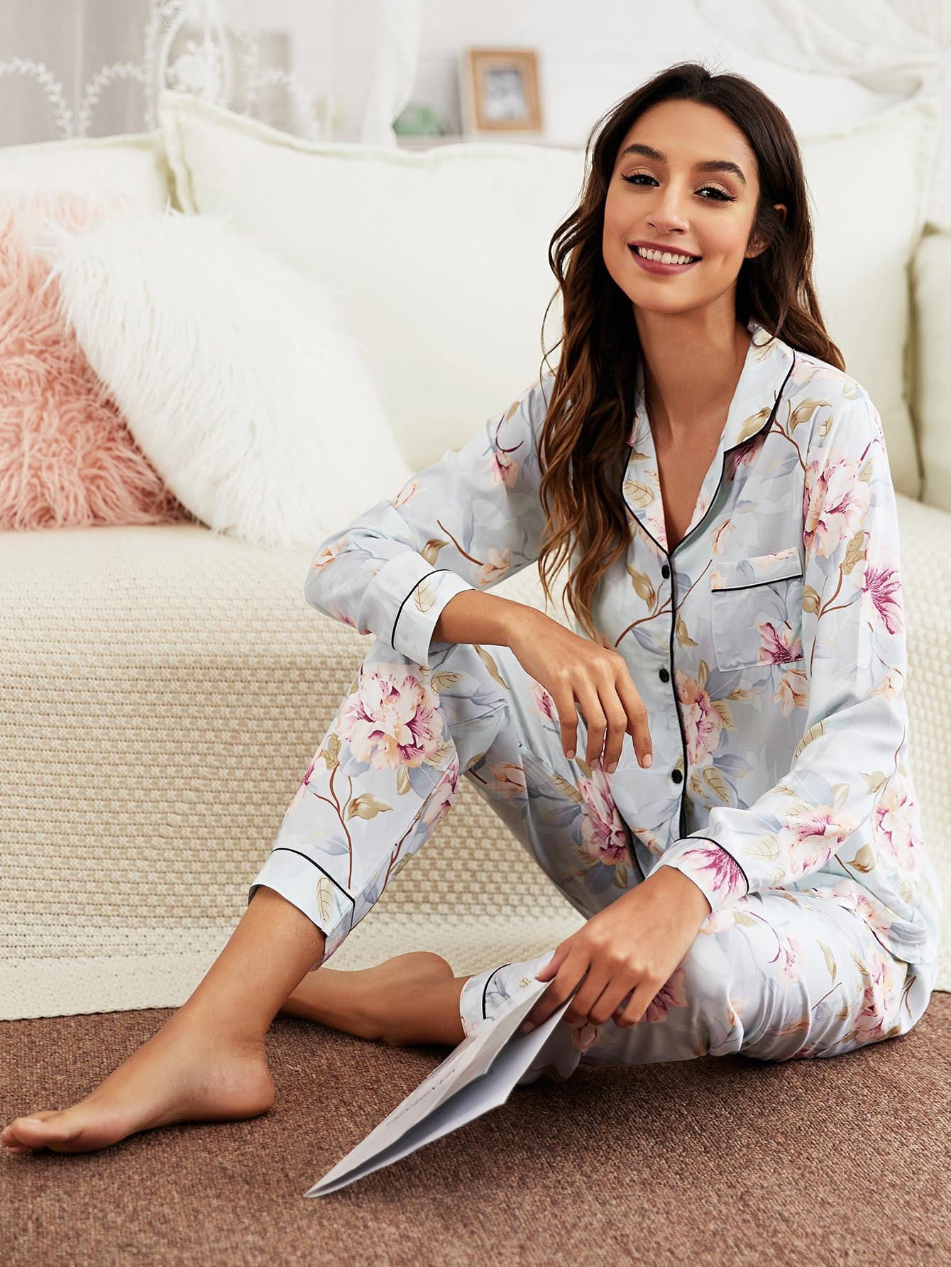 Floral Lapel Collar Pajama Set thumbnail