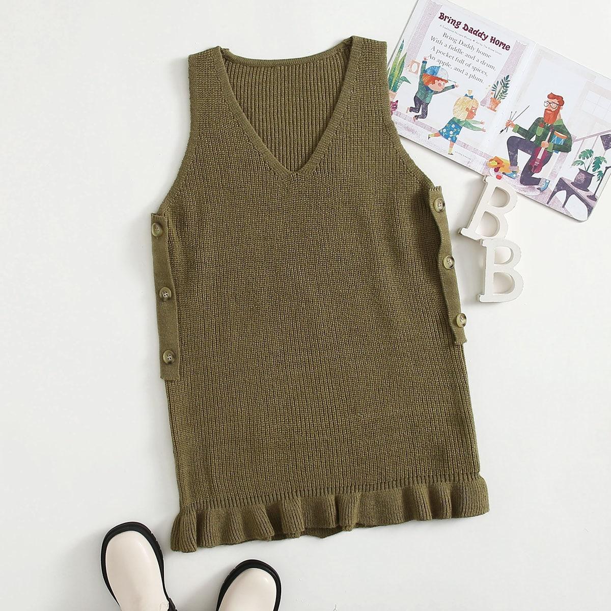 Платье-свитер с пуговициами для девочек