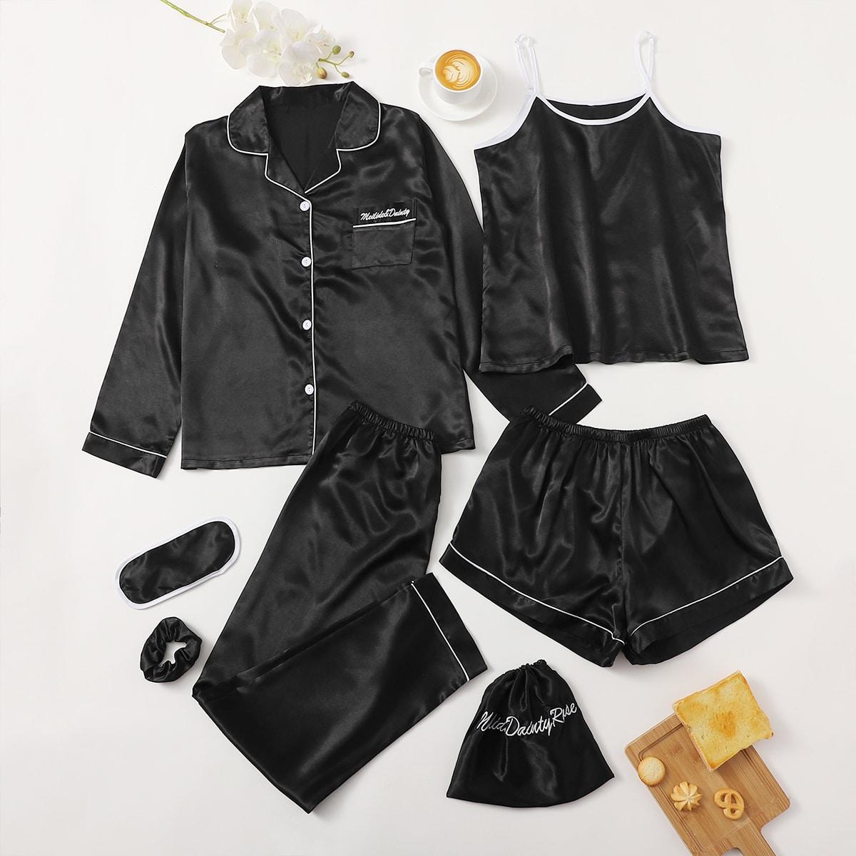 Атласная пижама с контрастной отделкой 7шт