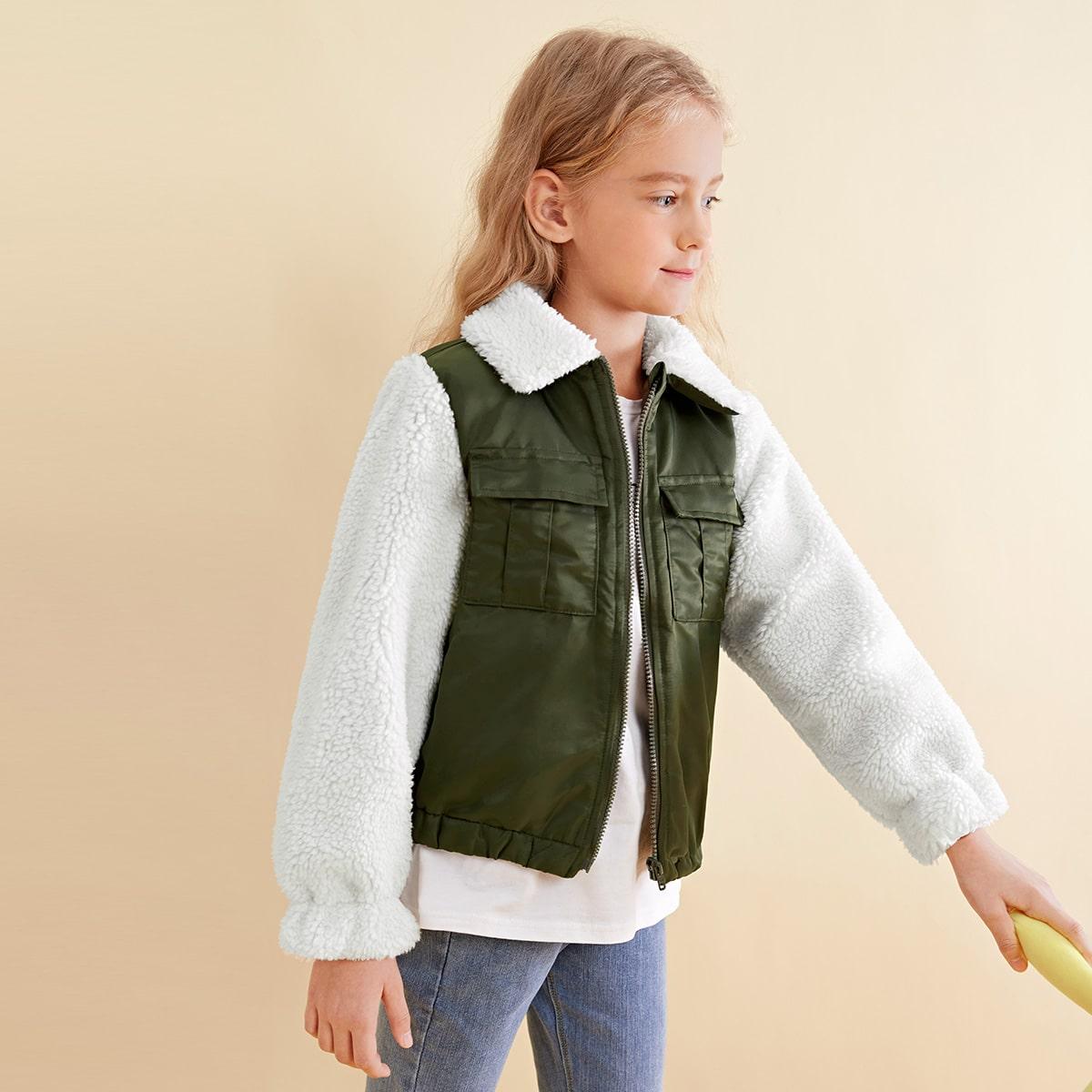 Jacke mit Kontrast Kunstlammfell Kragen und Ärmeln