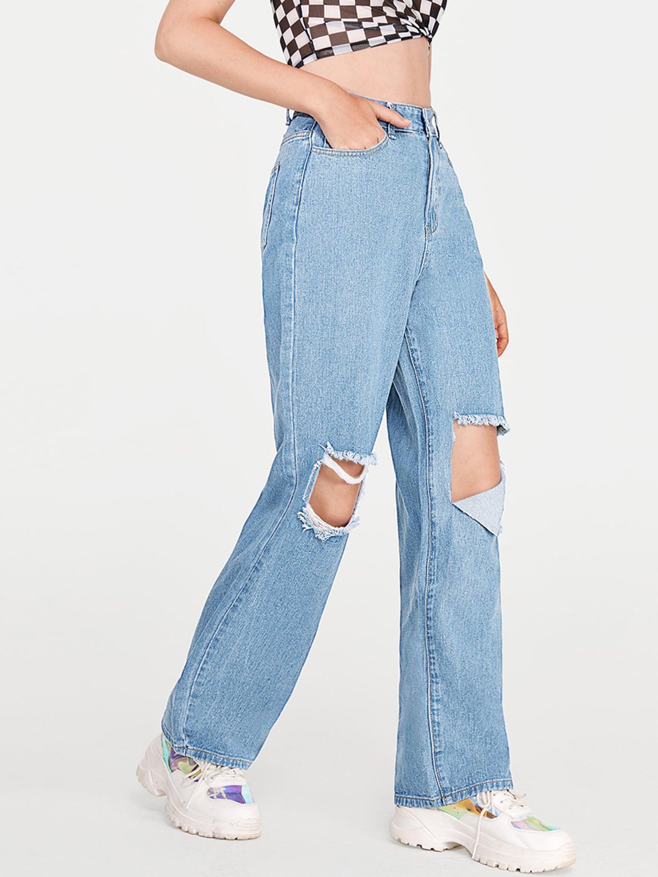 High Waisted Ripped Slant Pocket Boyfriend Jeans thumbnail