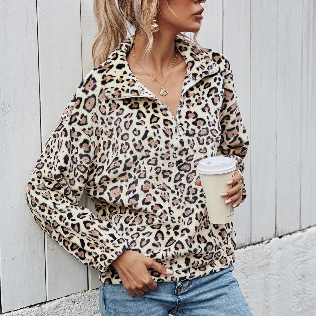 Плюшевый свитшот на молнии с леопардовым принтом