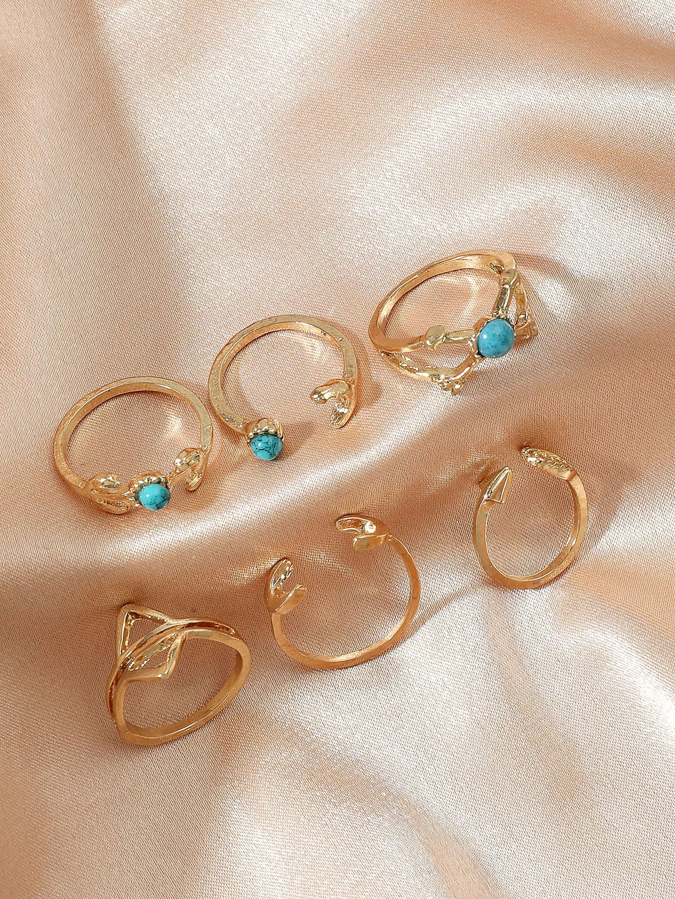 6pcs Turquoise Decor Ring thumbnail