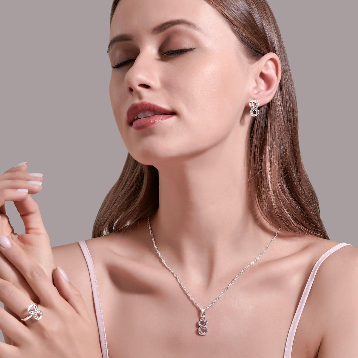 Rhinestone Infinity Decor Jewelry Set, SHEIN  - buy with discount