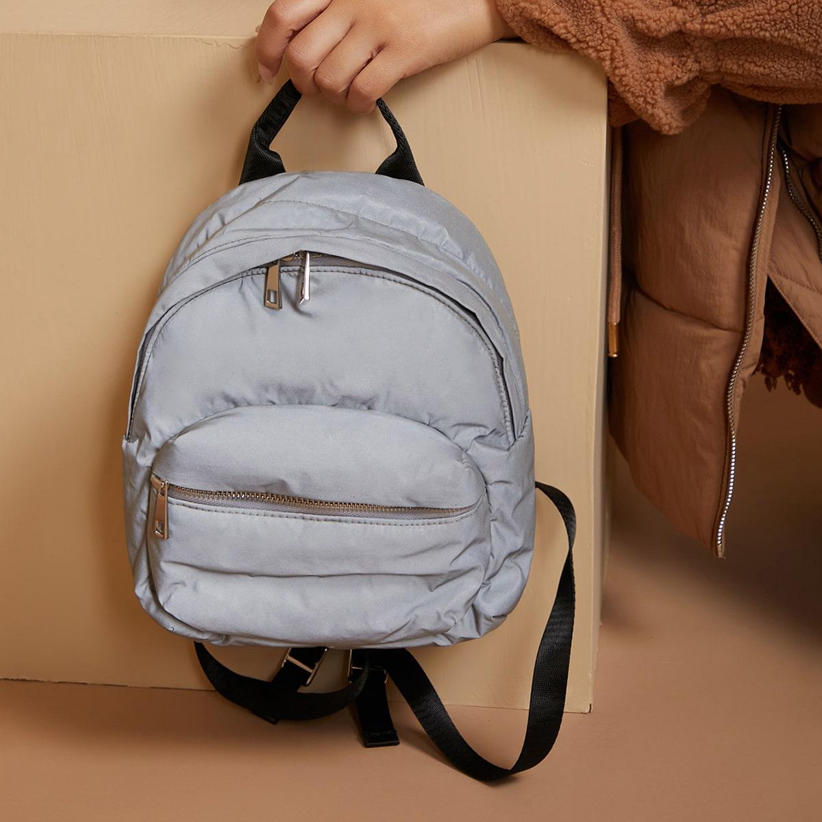 Регулируемый одноцветный модный рюкзак