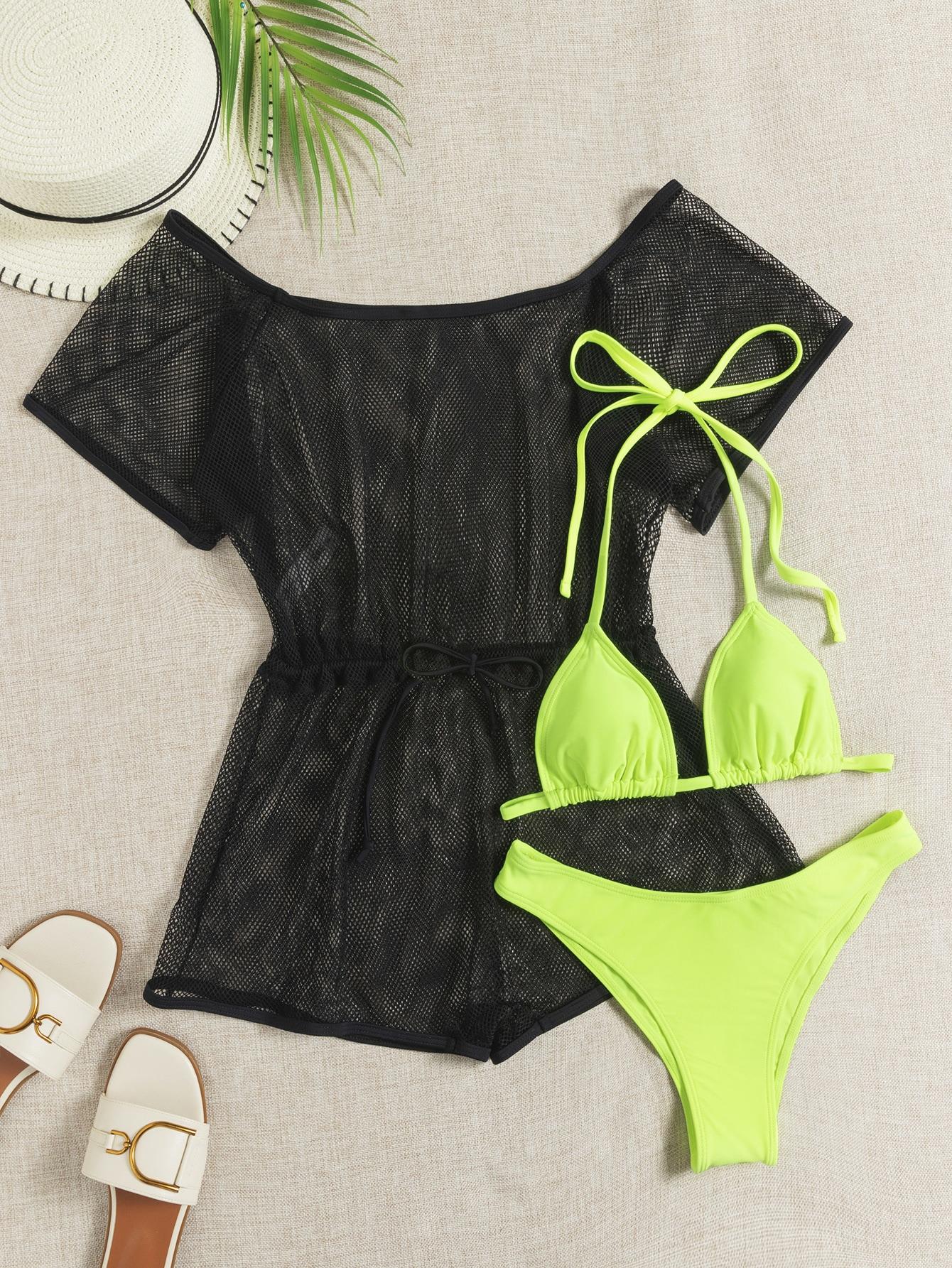 3pack Neon Lime Triangle Bikini Swimsuit With Fishnet Romper thumbnail