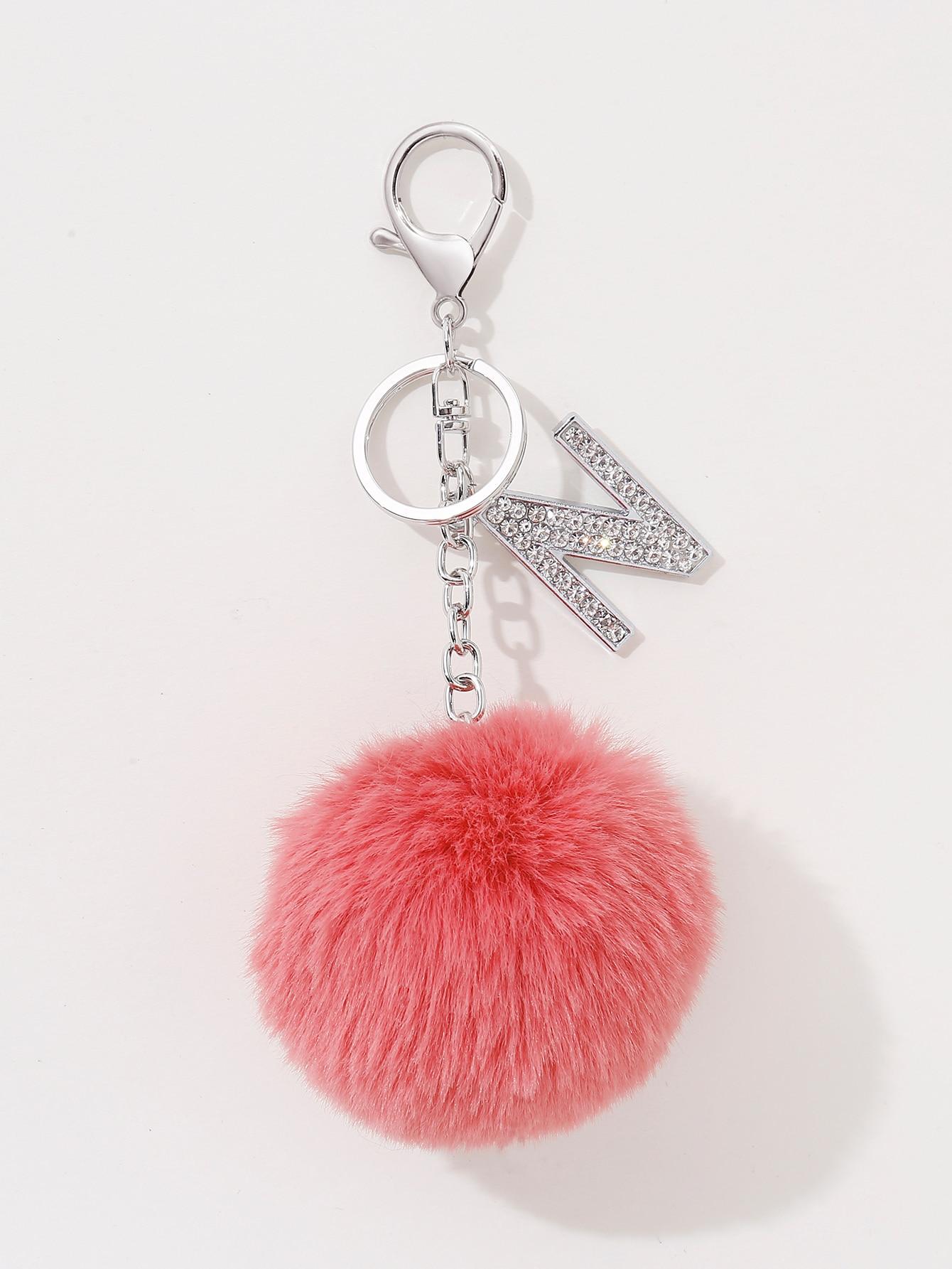 Pom Pom & Letter Charm Keychain thumbnail