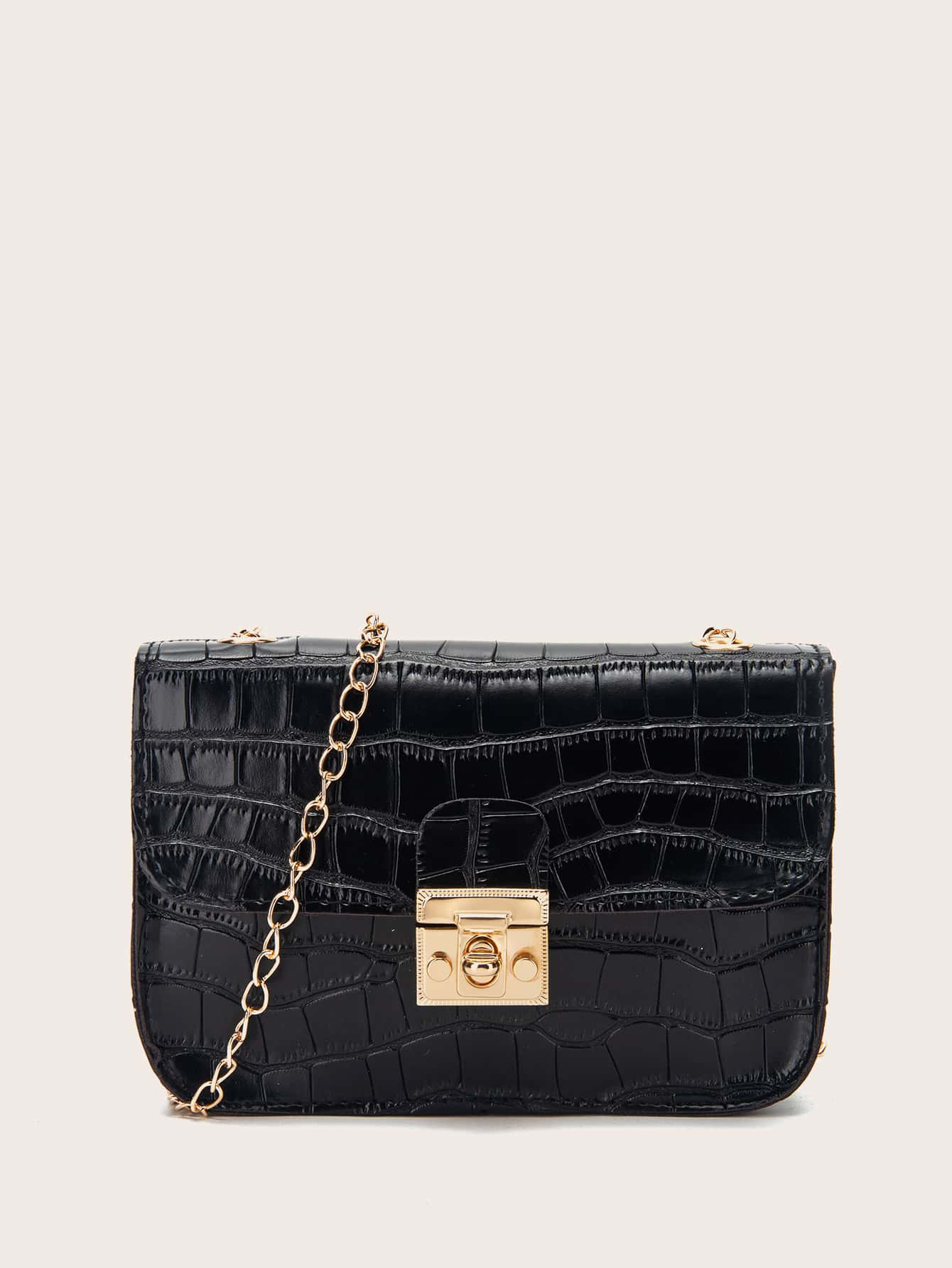 Croc Embossed Chain Crossbody Bag thumbnail