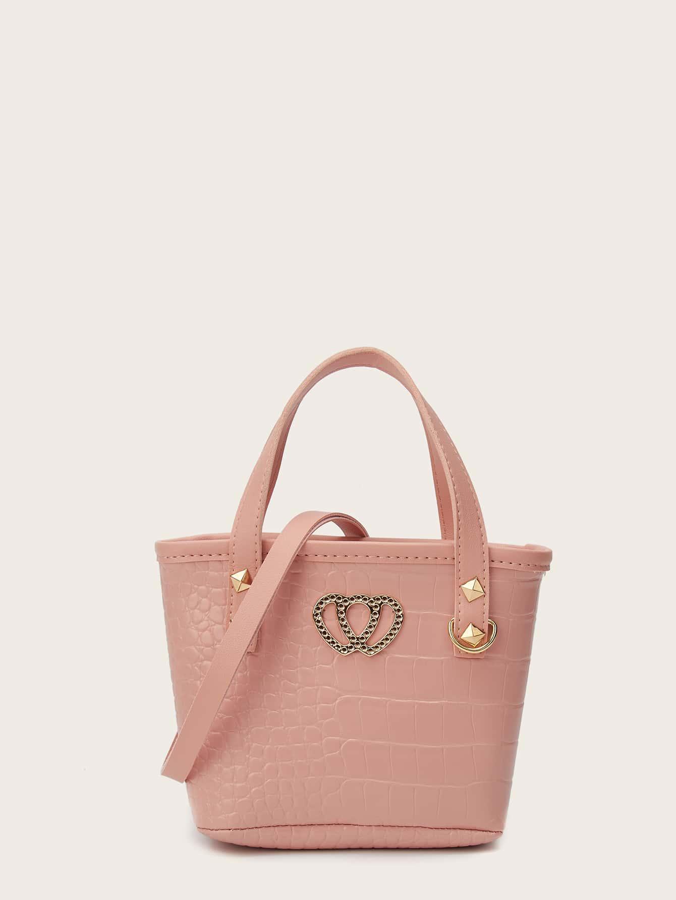 heart detail croc embossed bucket bag