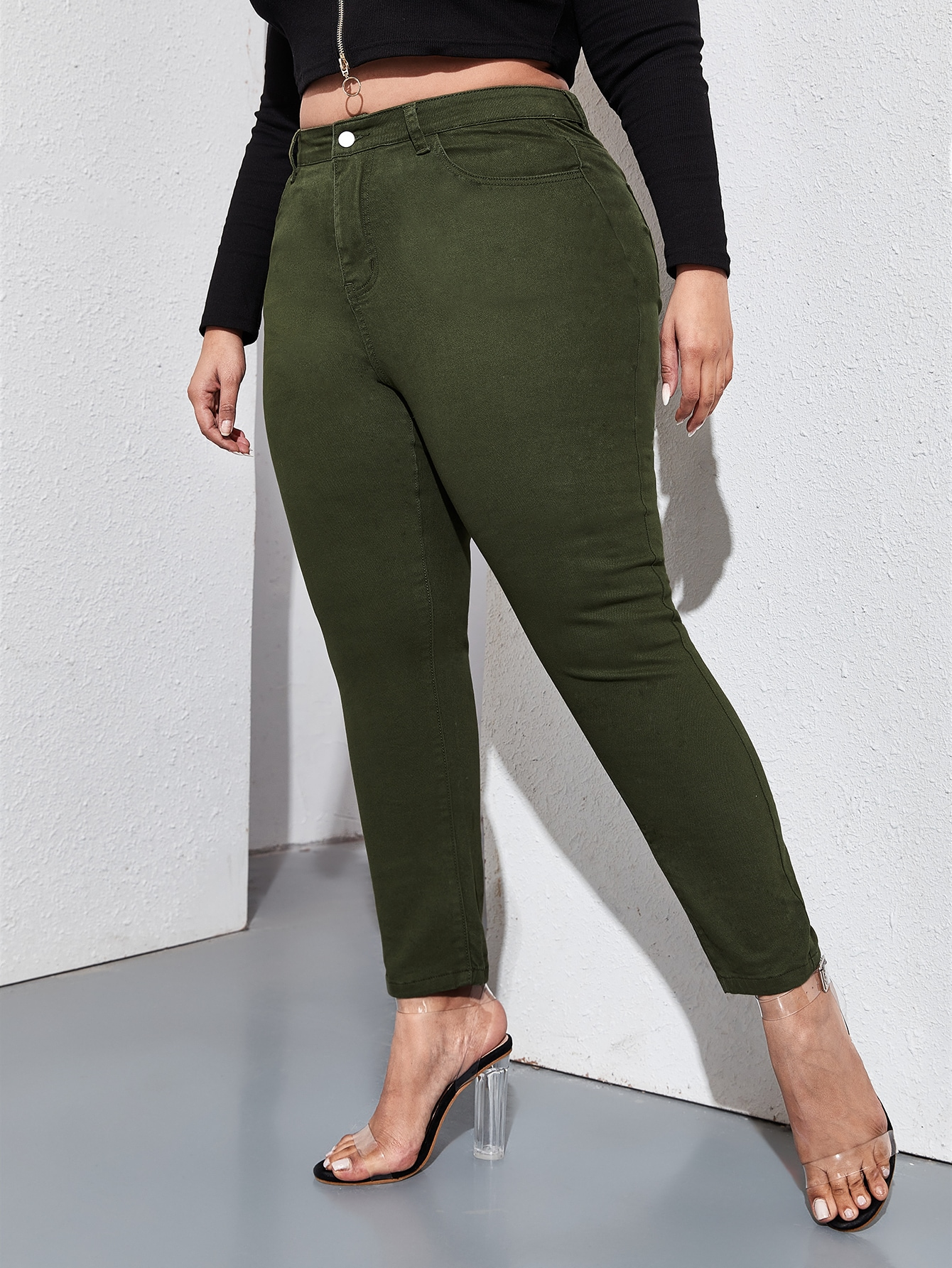 Plus High Waist Slant Pocket Skinny Jeans thumbnail