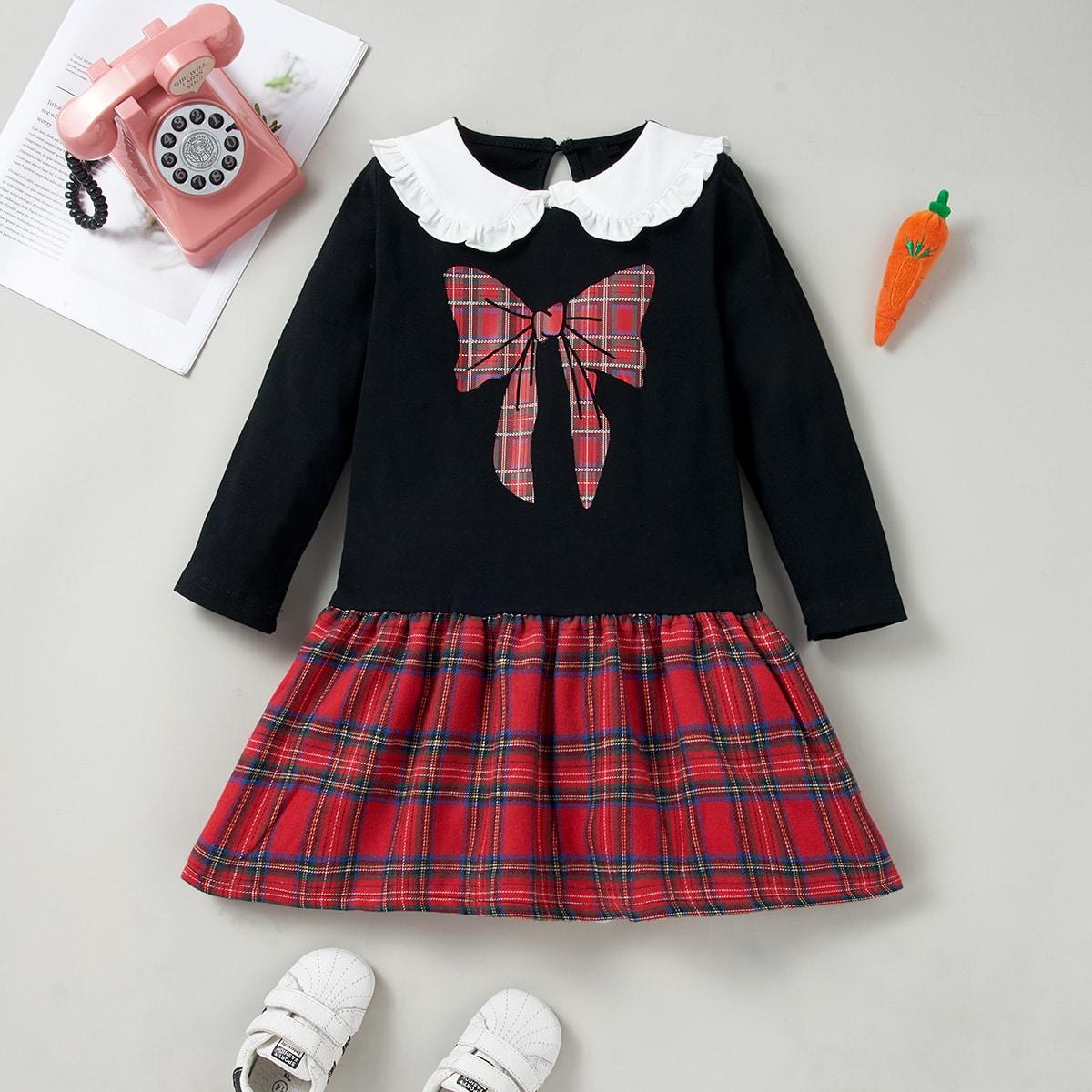 Контрастный воротник клетка институтский платья для девочек