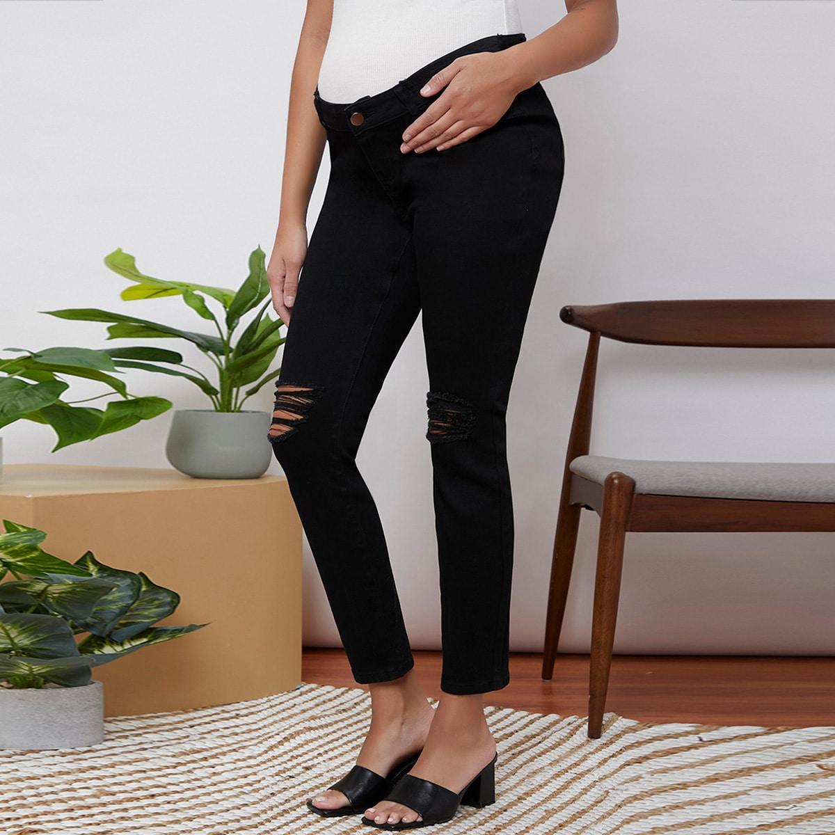 Рваные джинсы с ниженной талией для беременных