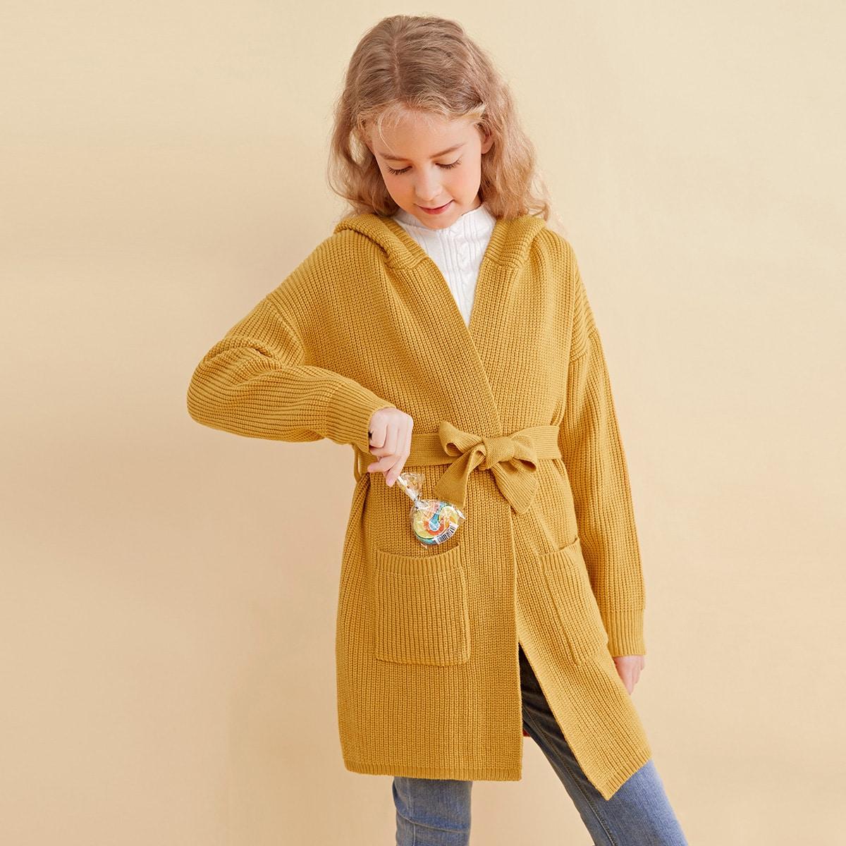 Трикотажное пальто с поясом, карманом и капюшоном для девочек