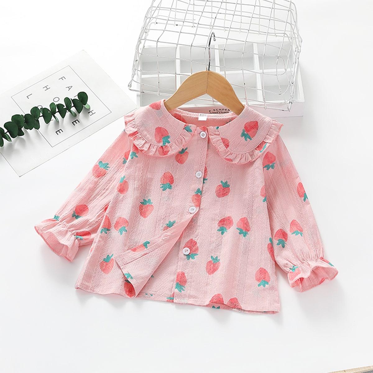 Оборка фрукты и овощи милый блузы для девочек