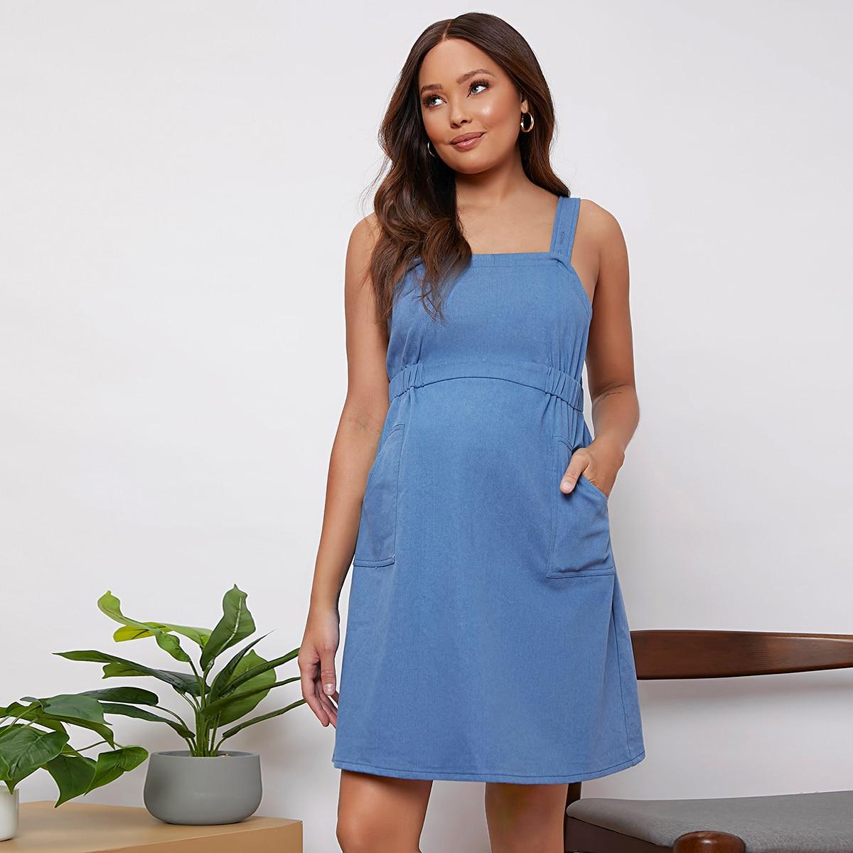 Карман ровный цвет повседневный джинсовая одежда для беременных