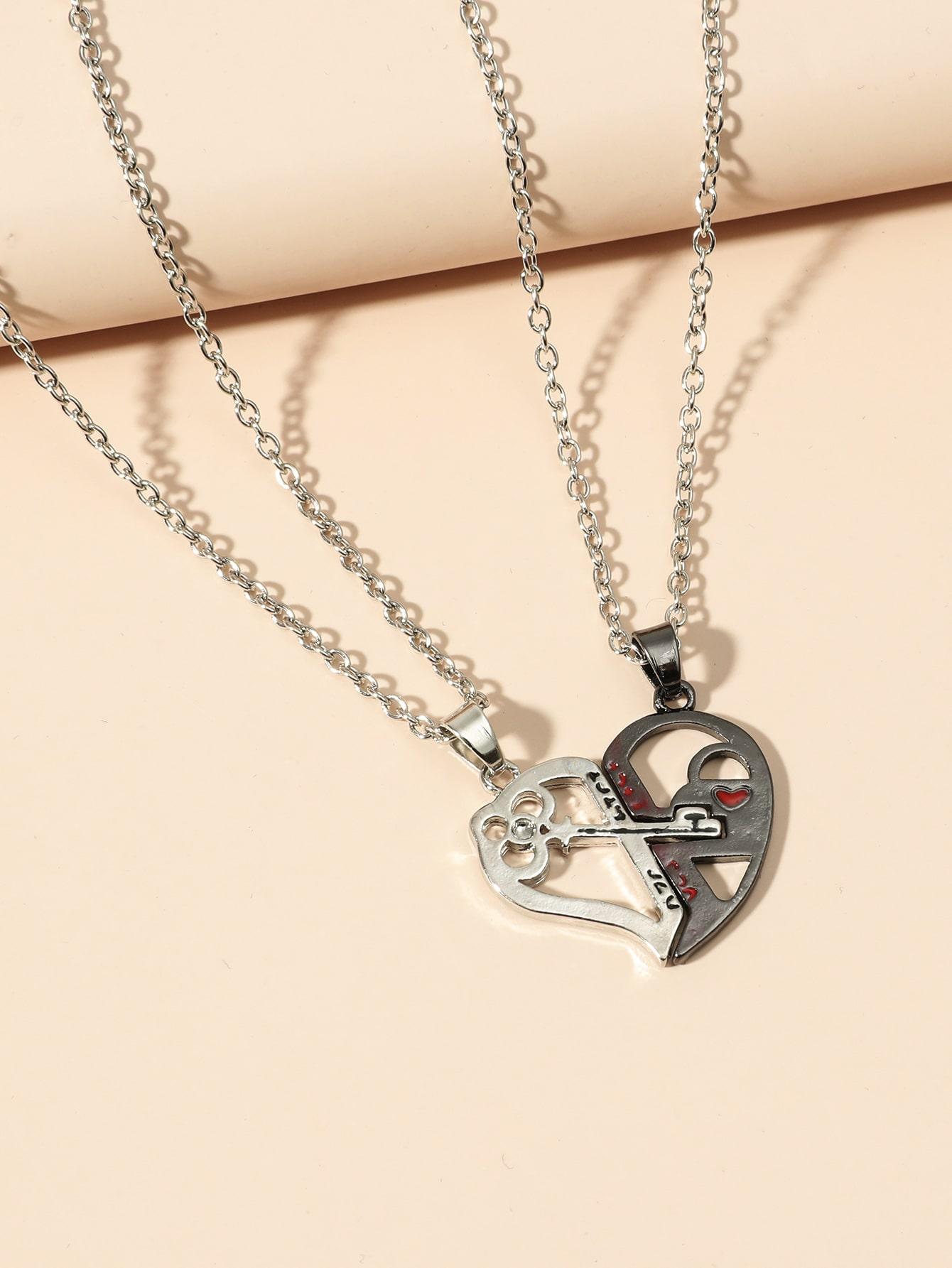2pcs  Heart Charm Necklace thumbnail