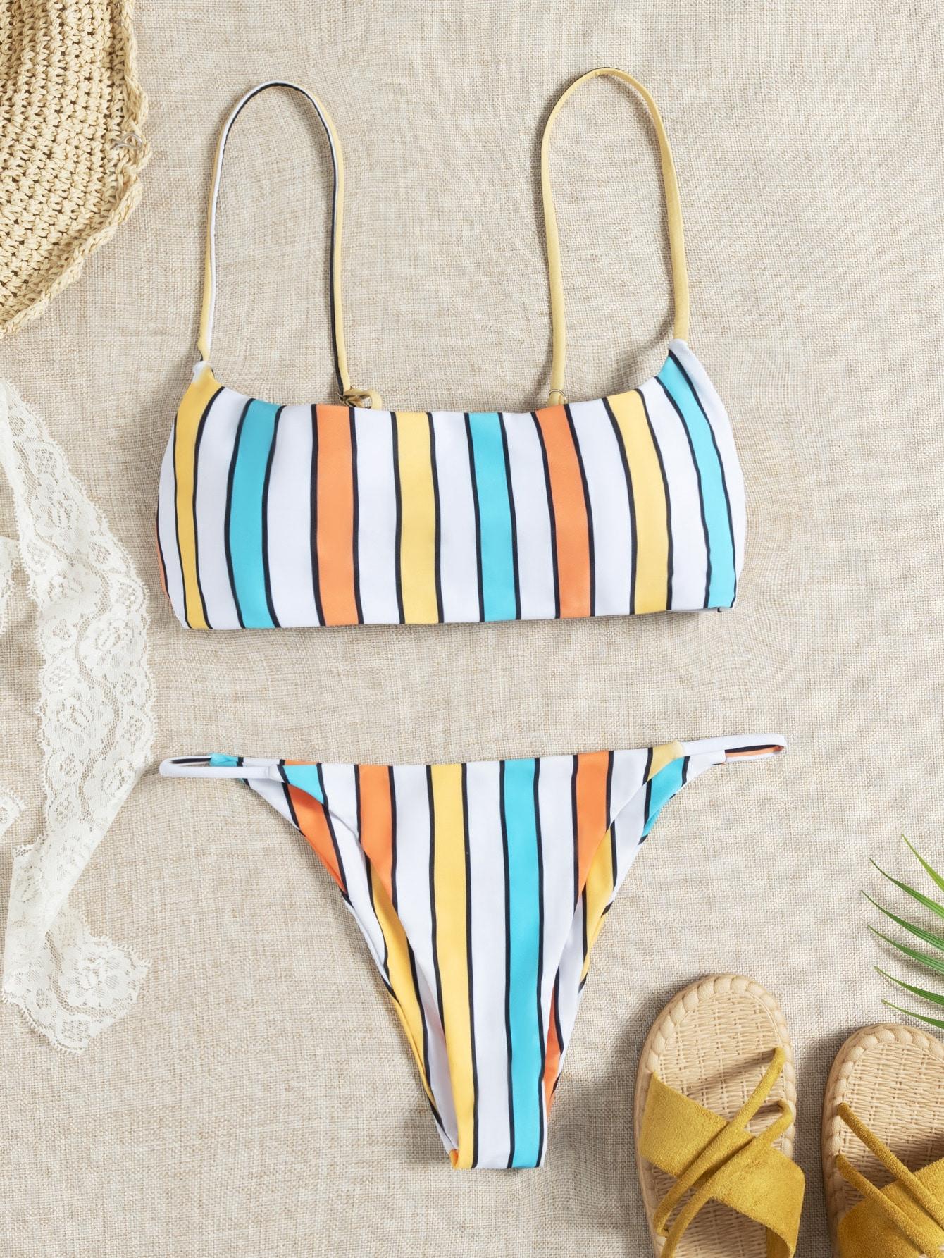 Random Striped Thong Bikini Swimsuit thumbnail