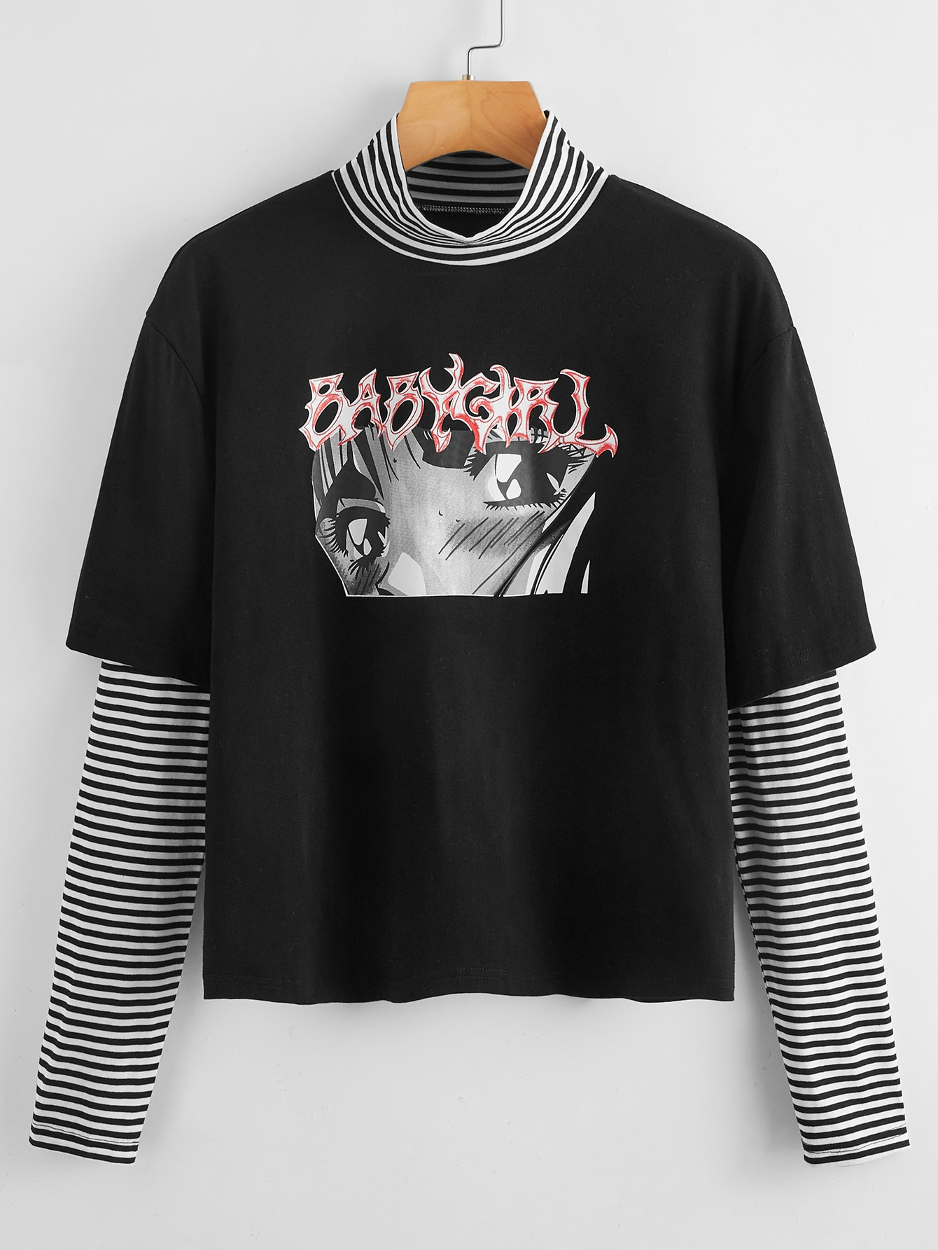 Plus Striped Letter Graphic Combo Tee thumbnail