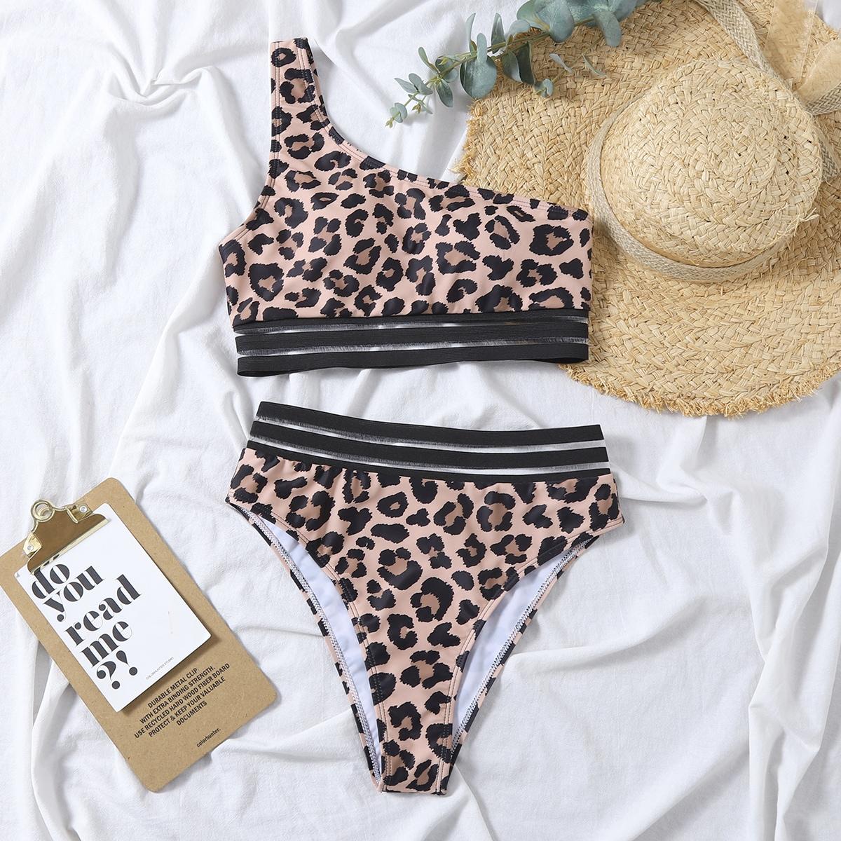 Bikini asymétrique avec imprimé et tulle