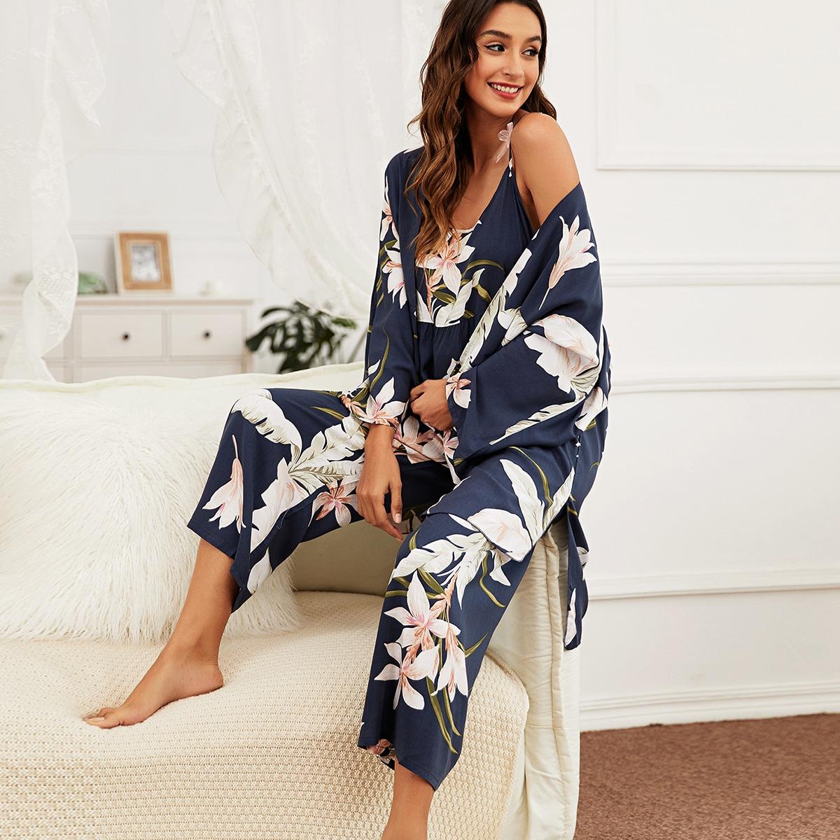 С оборками Цветочный принт Элегантный Пижама