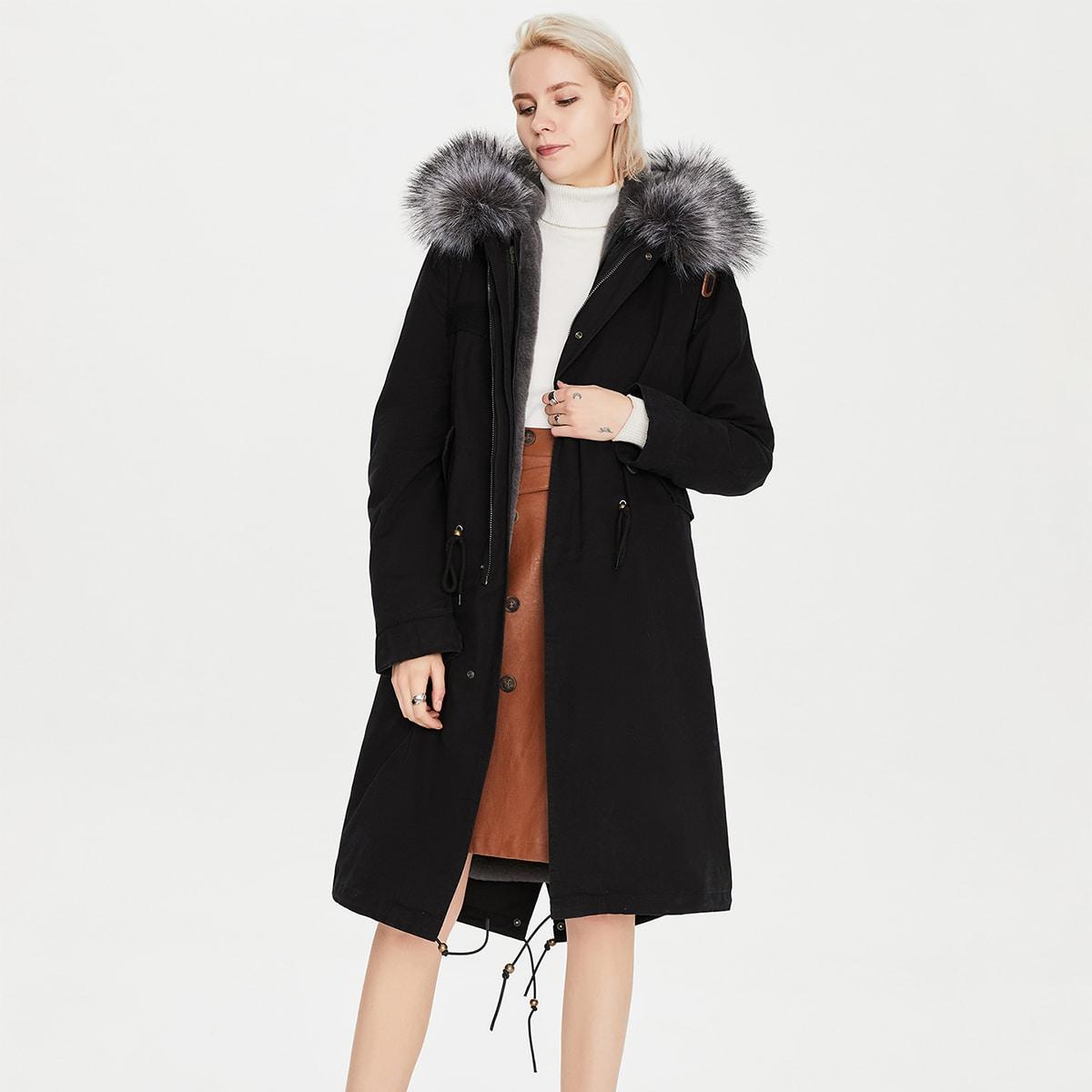 Drawstring Waist Contrast Faux Fur Hooded Parka Coat