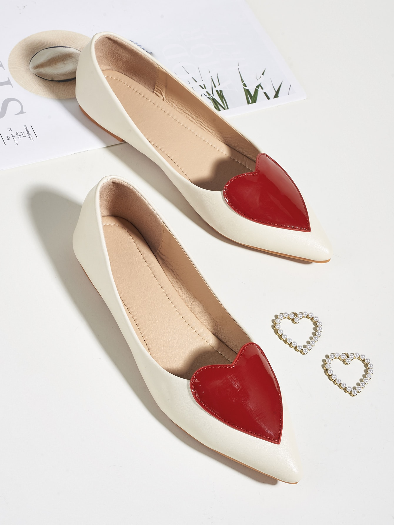 Heart Decor Point Toe Flats thumbnail